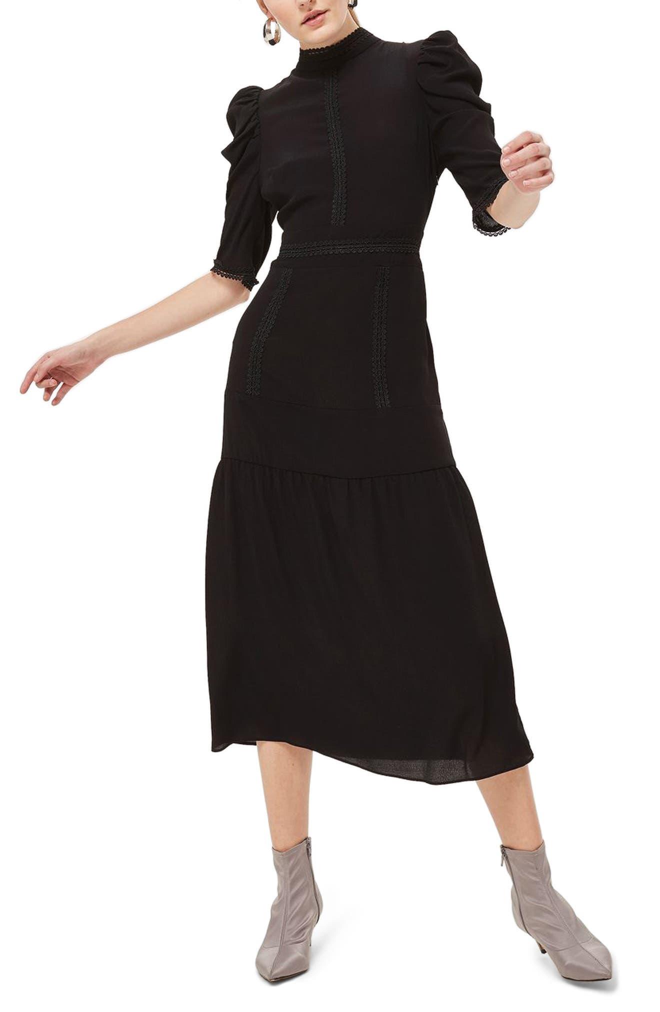 Corset Back Tiered Midi Dress,                             Main thumbnail 1, color,                             Black