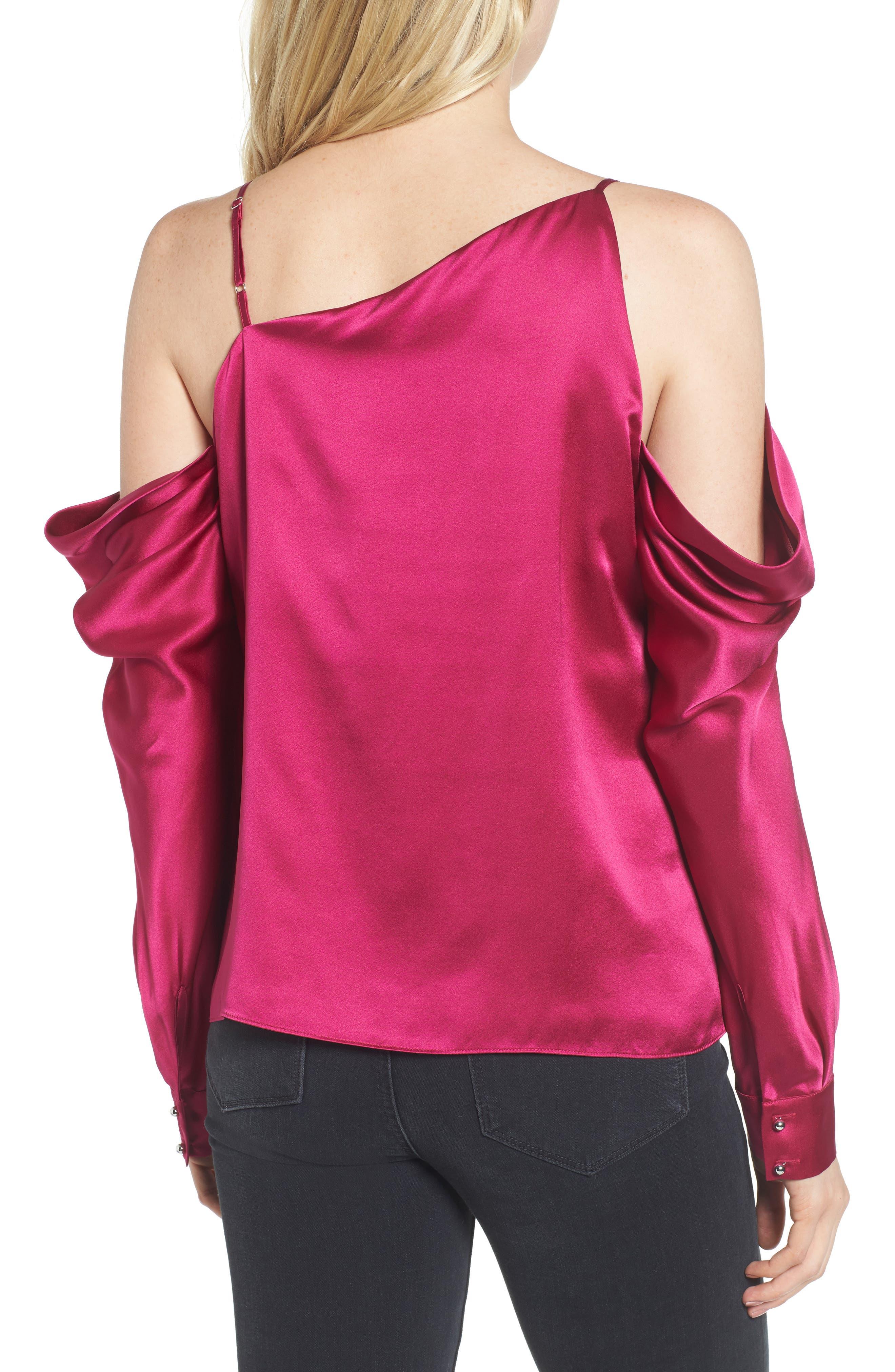 Amelia Asymmetrical Silk Blouse,                             Alternate thumbnail 2, color,                             Beetroot