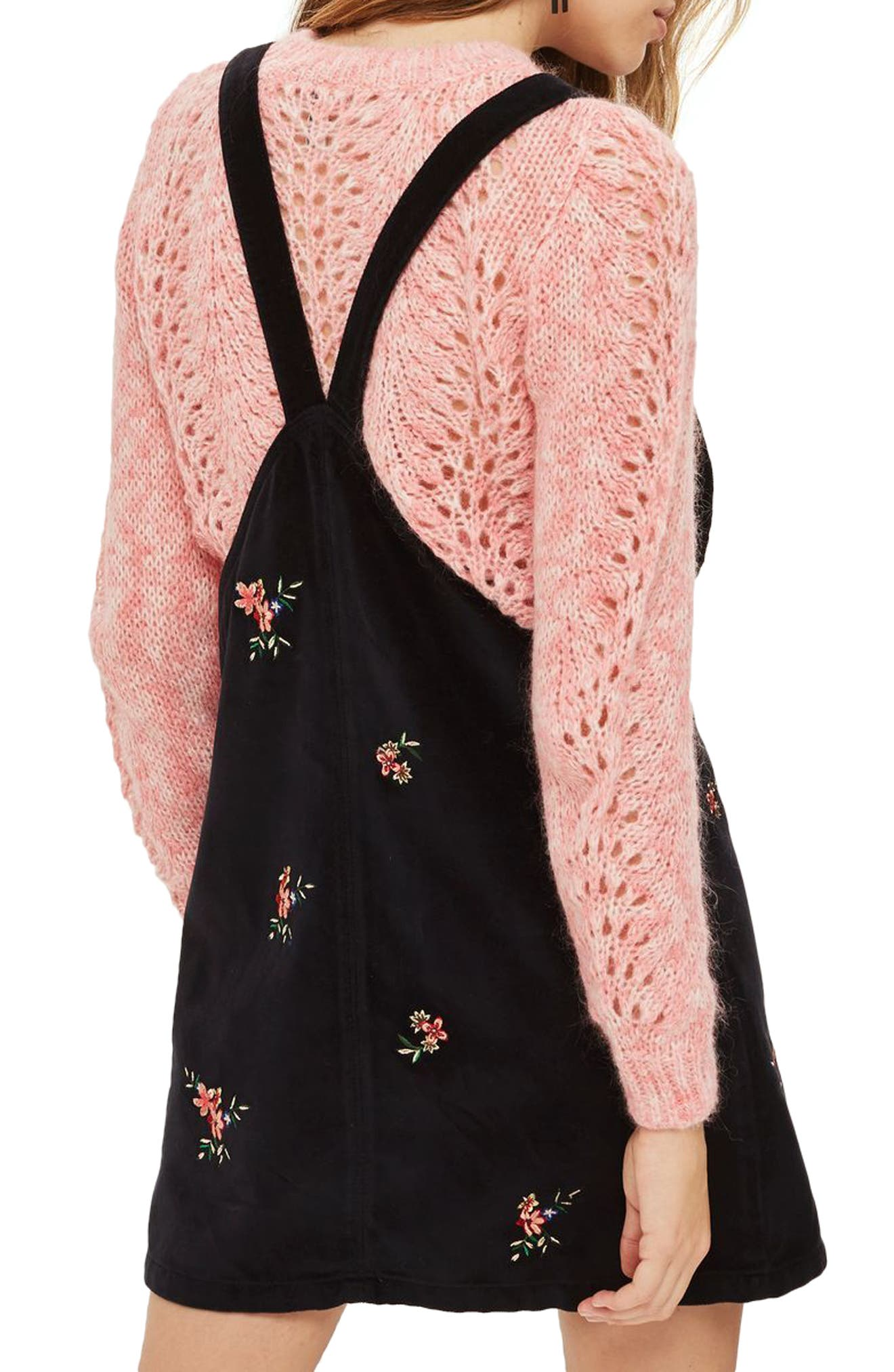 Embroidered Velvet Pinafore Dress,                             Alternate thumbnail 2, color,                             Black Multi