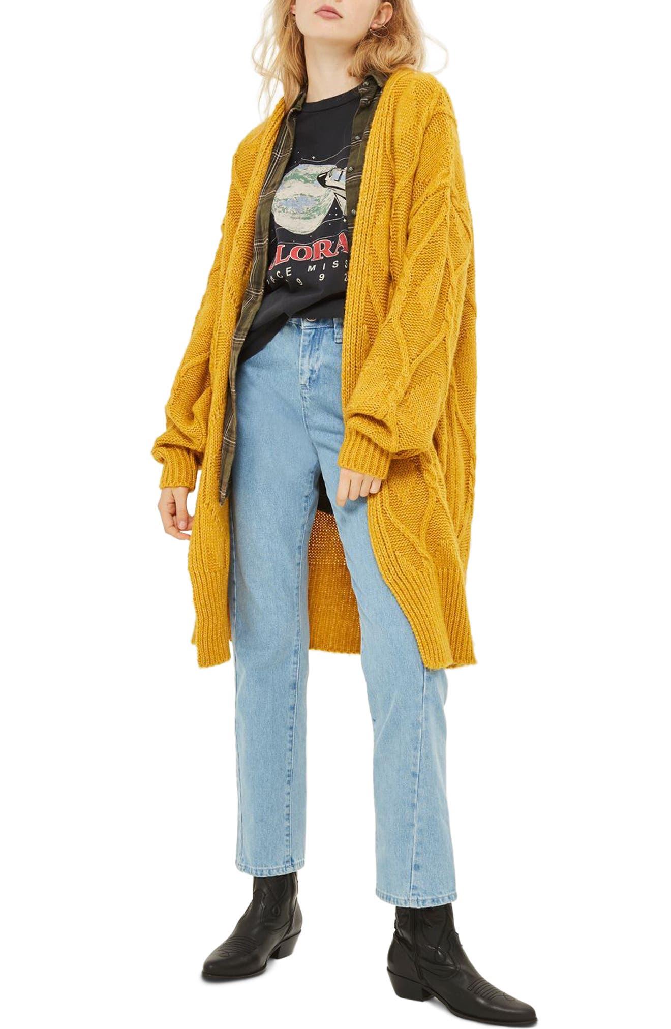 Longline Cable Cardigan,                             Alternate thumbnail 2, color,                             Mustard