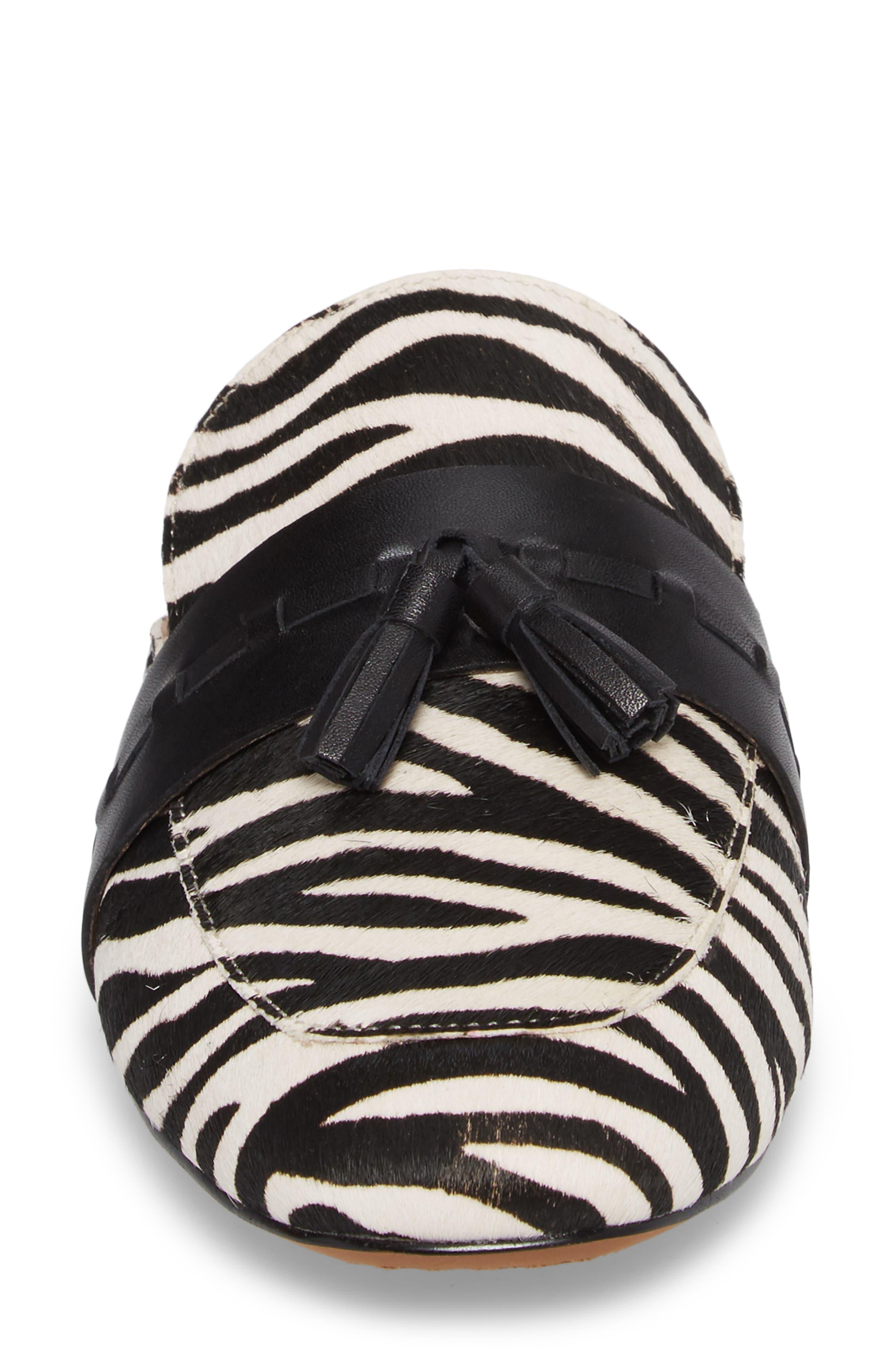 Abbott II Tassel Mule,                             Alternate thumbnail 4, color,                             White/ Black Print Calf Hair