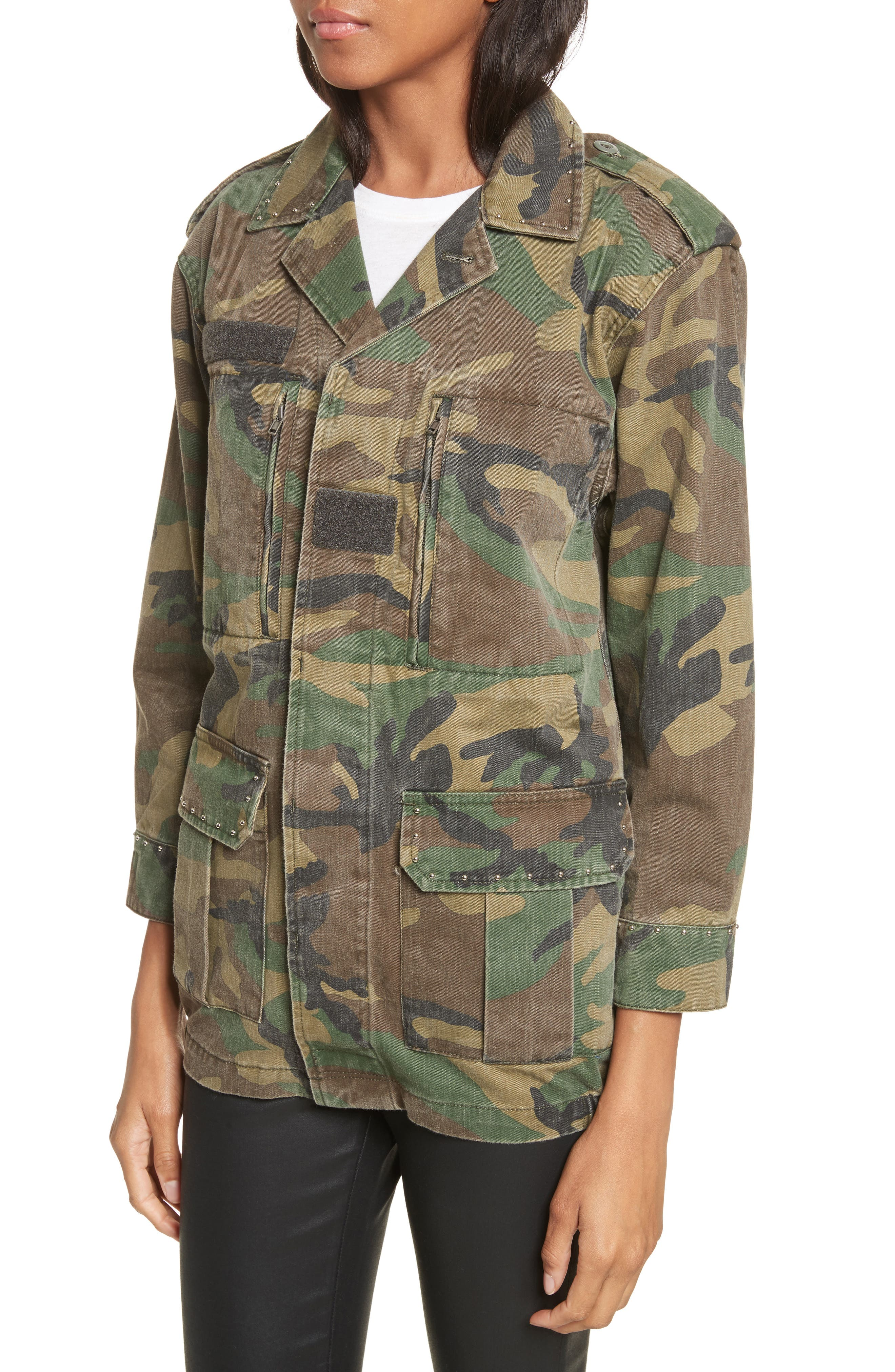 Studded Camouflage Jacket,                             Alternate thumbnail 4, color,                             Khaki
