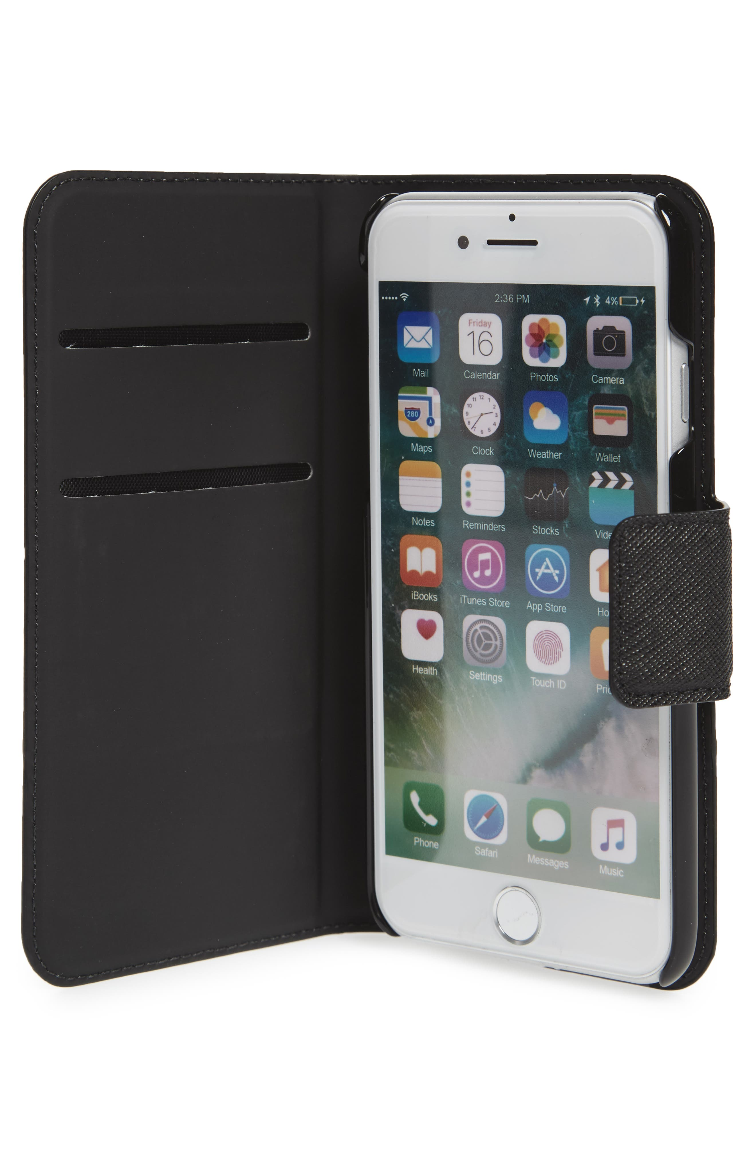 leather iPhone 7/8 & 7/8 Plus case,                             Alternate thumbnail 2, color,                             Black/ Tusk