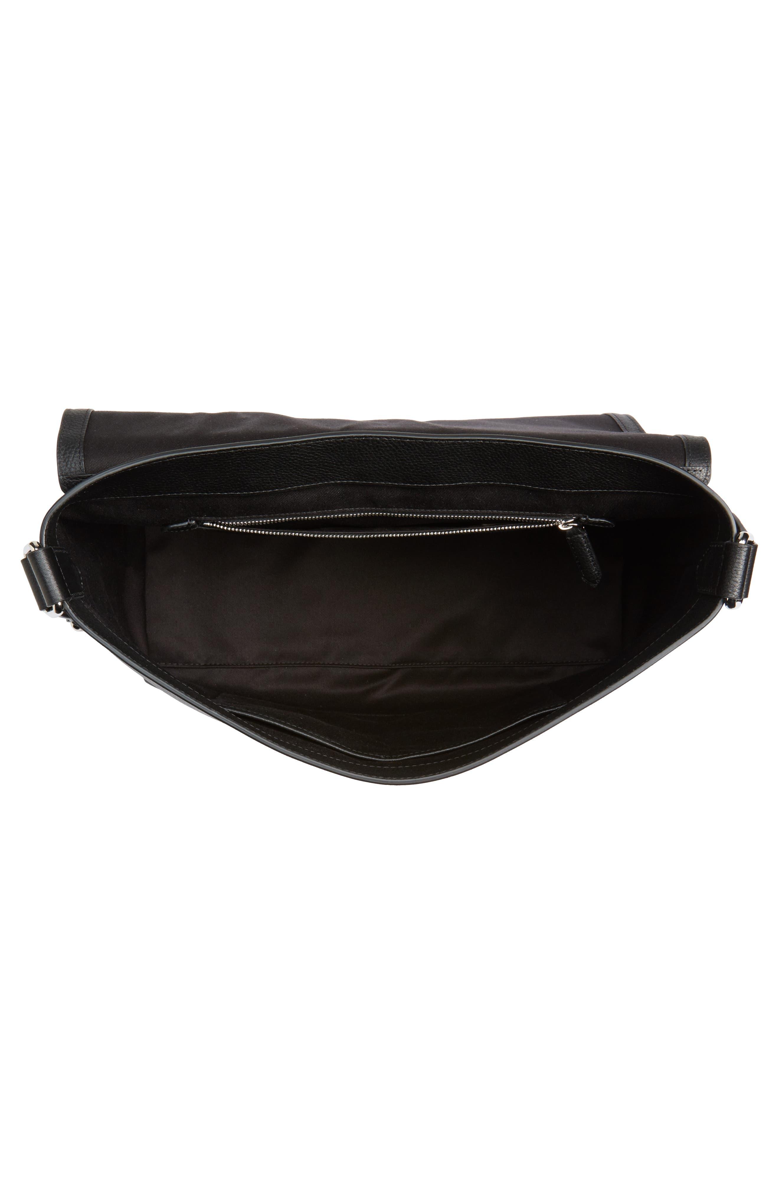 London Check Messenger Bag,                             Alternate thumbnail 4, color,                             Charcoal/ Black