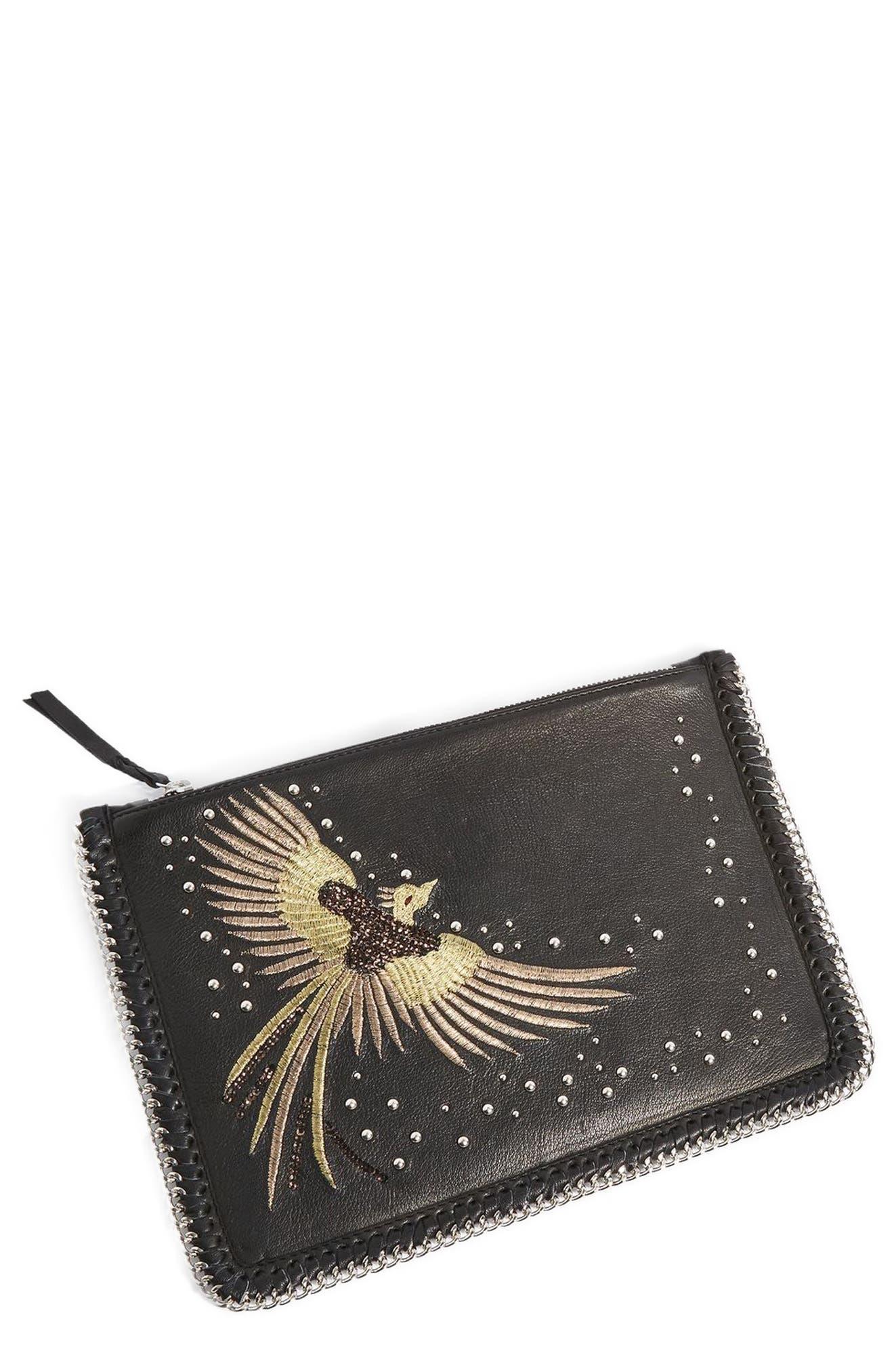 New Ava Bird Leather Crossbody Bag,                             Alternate thumbnail 3, color,                             Black Multi