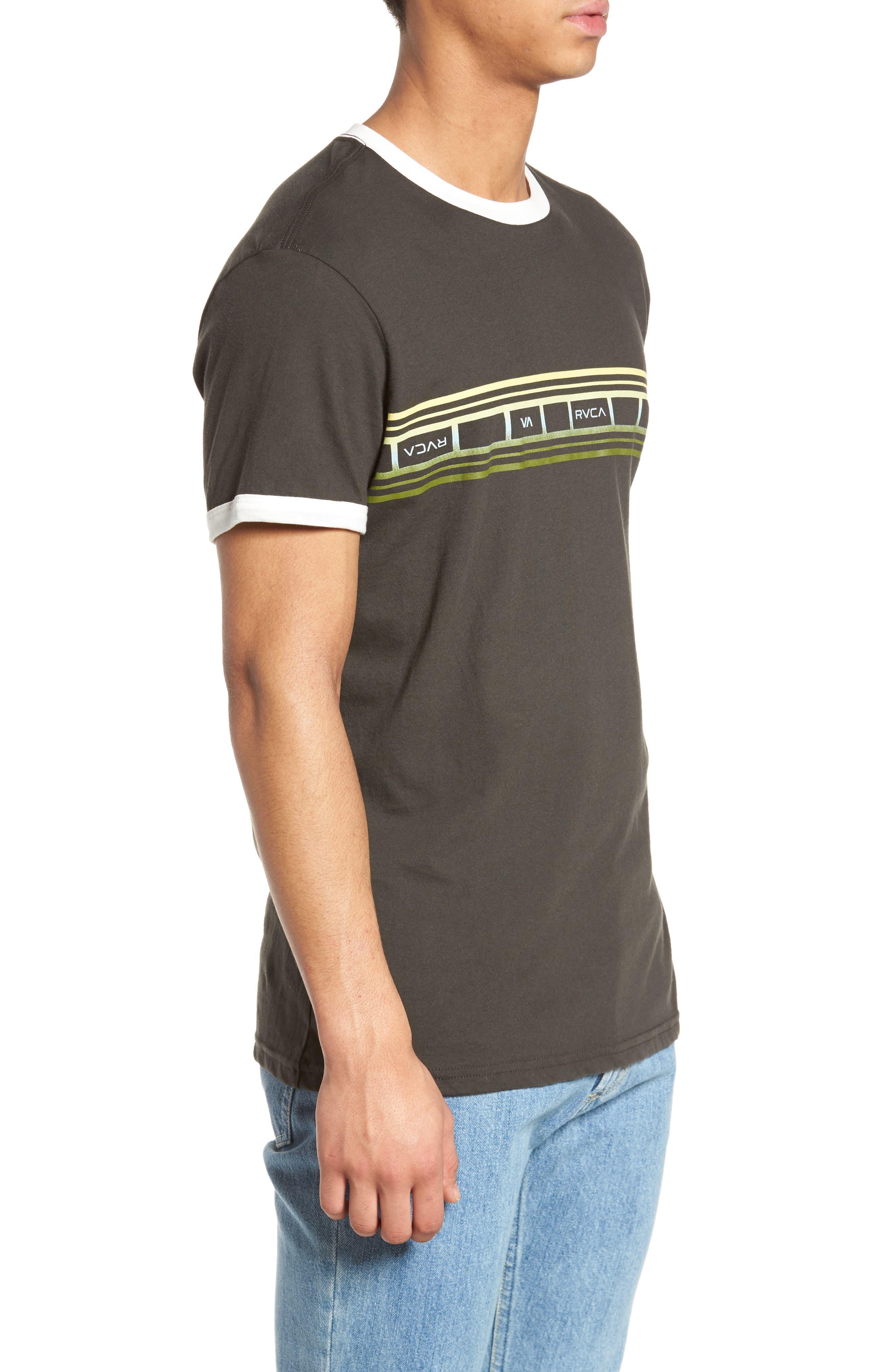 Fade Stripe Ringer T-Shirt,                             Alternate thumbnail 3, color,                             Pirate Black