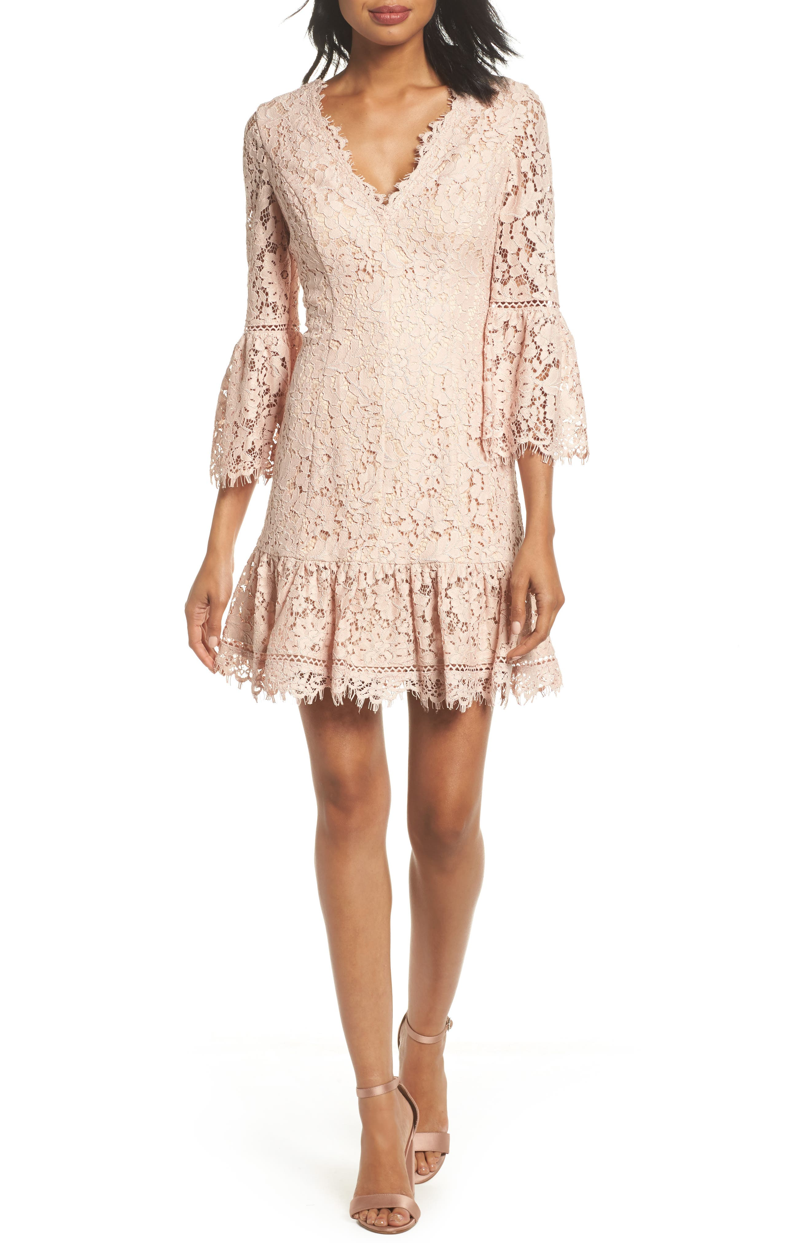 Bell Sleeve Lace Dress,                         Main,                         color, Blush