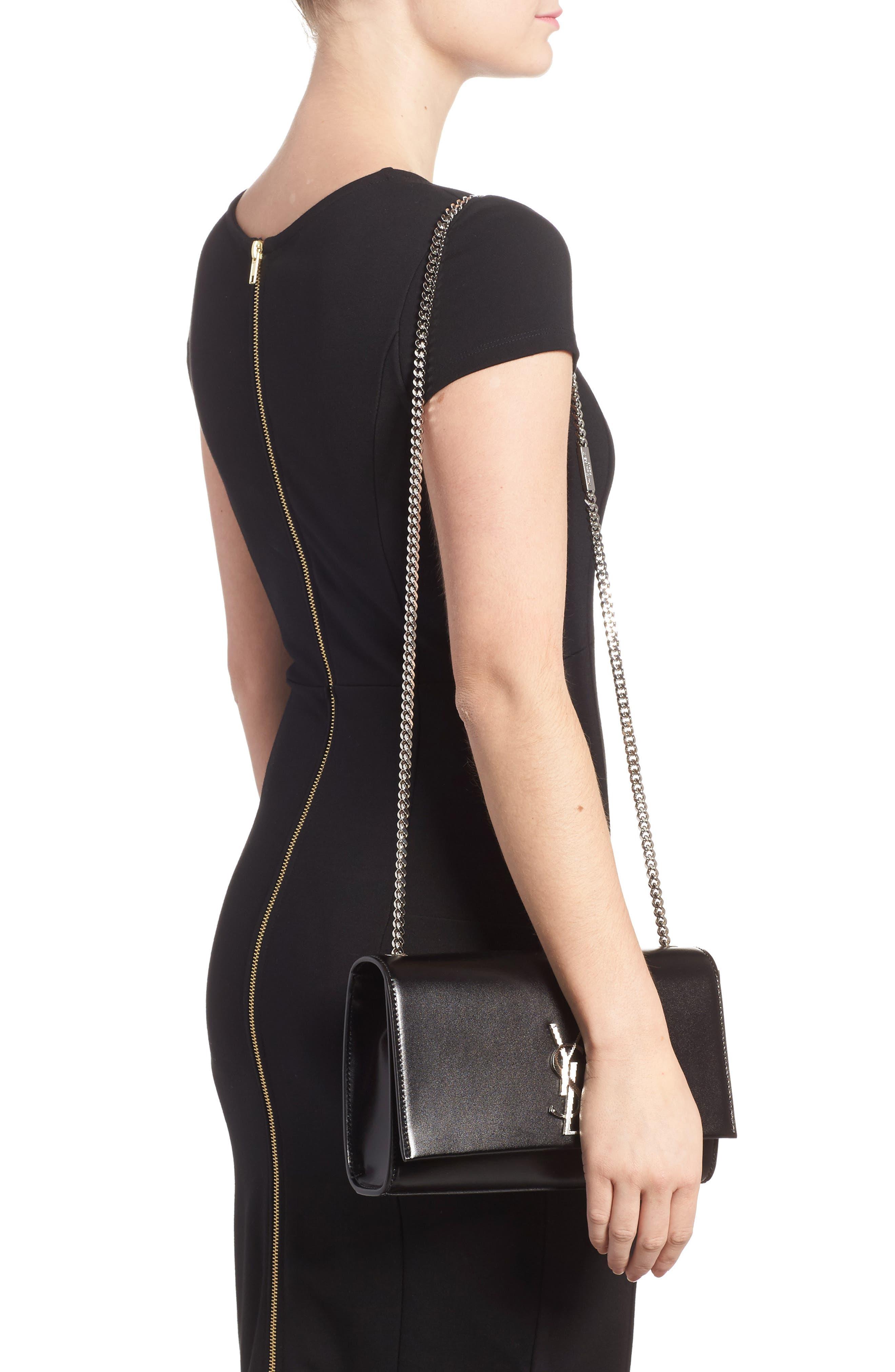 Medium Kate Calfskin Leather Crossbody Bag,                             Alternate thumbnail 2, color,                             Noir