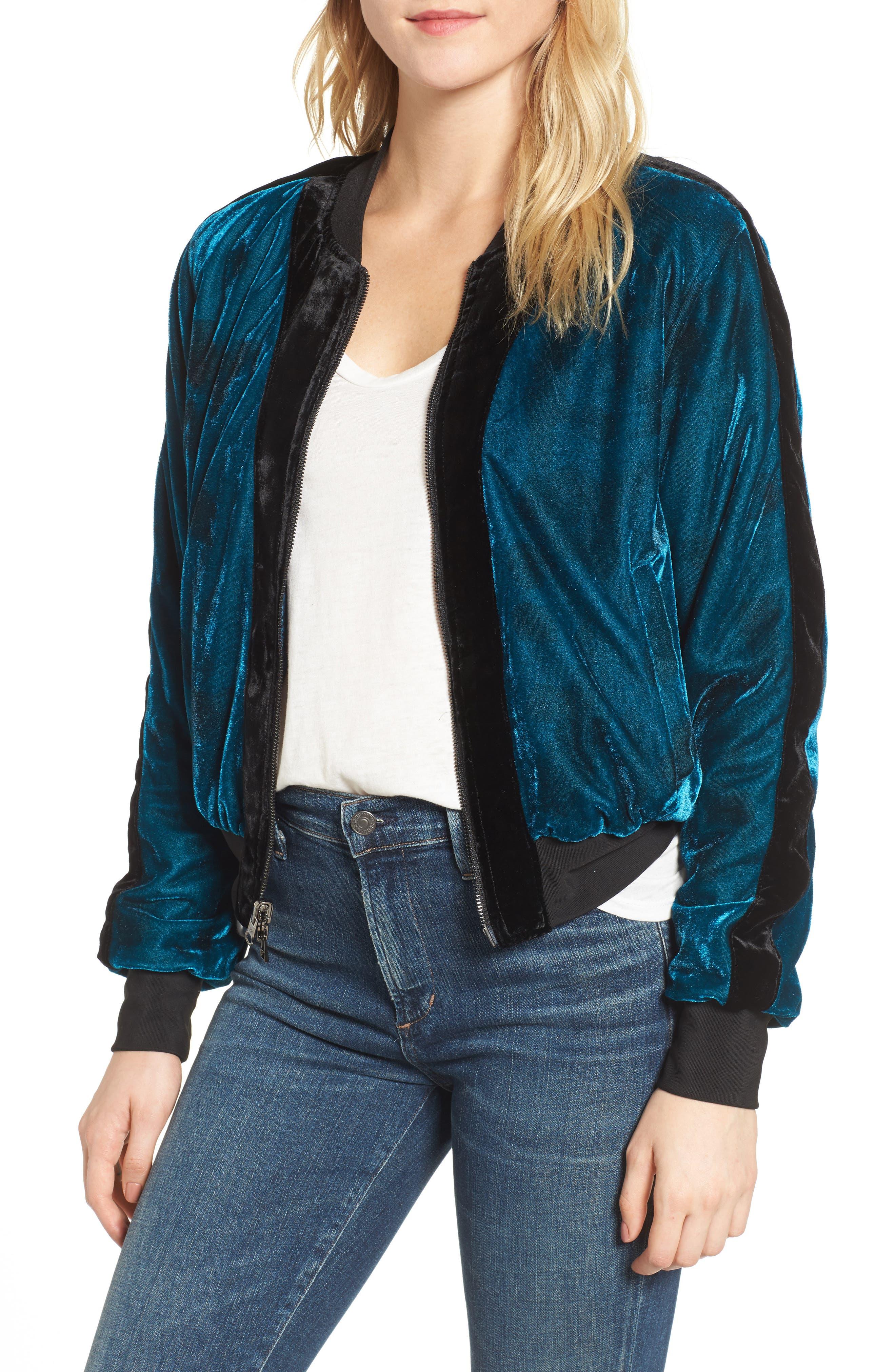 Reversible Baseball Jacket,                         Main,                         color, Sapphire