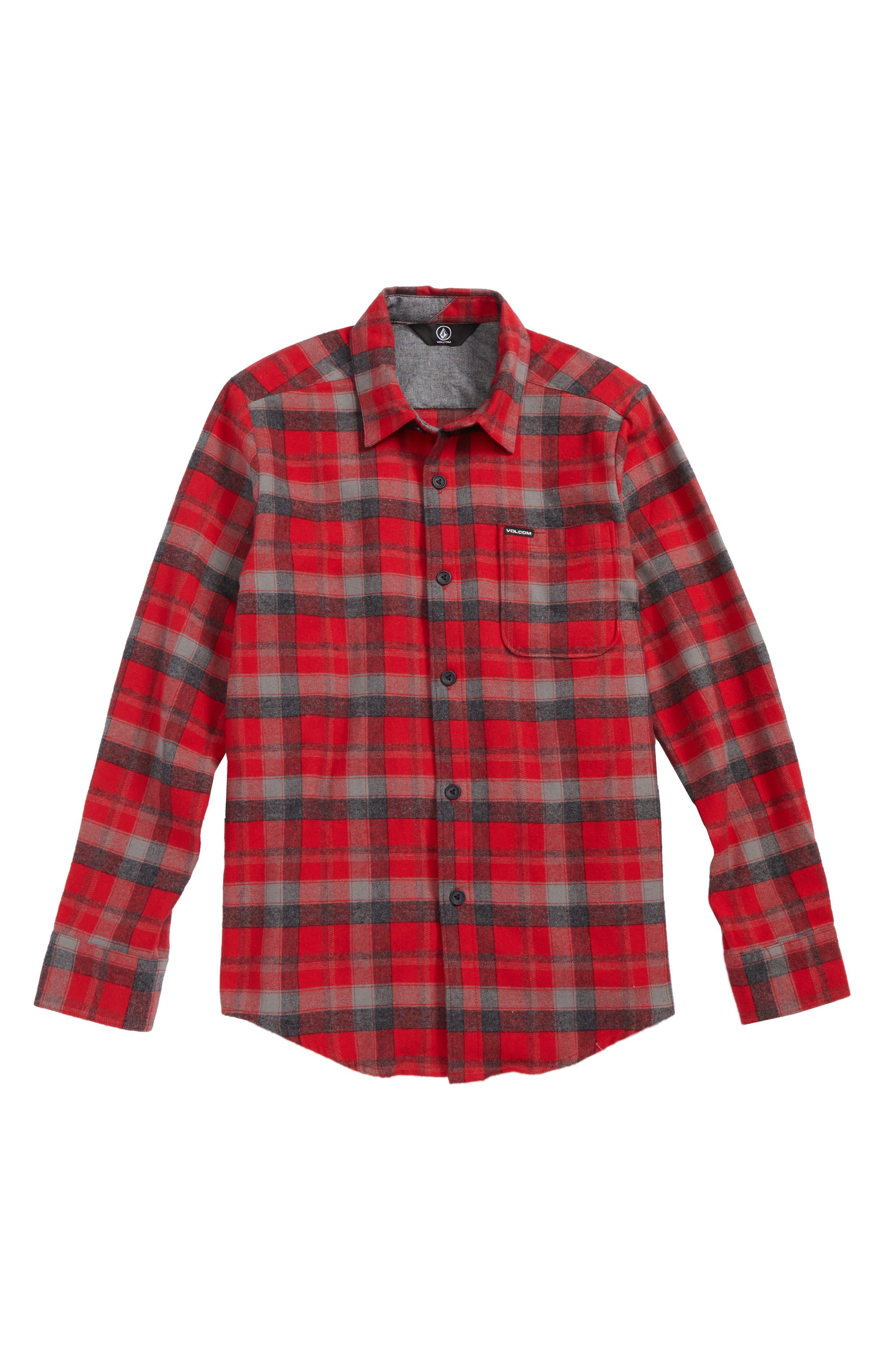Caden Plaid Flannel Shirt,                         Main,                         color, Deep Red