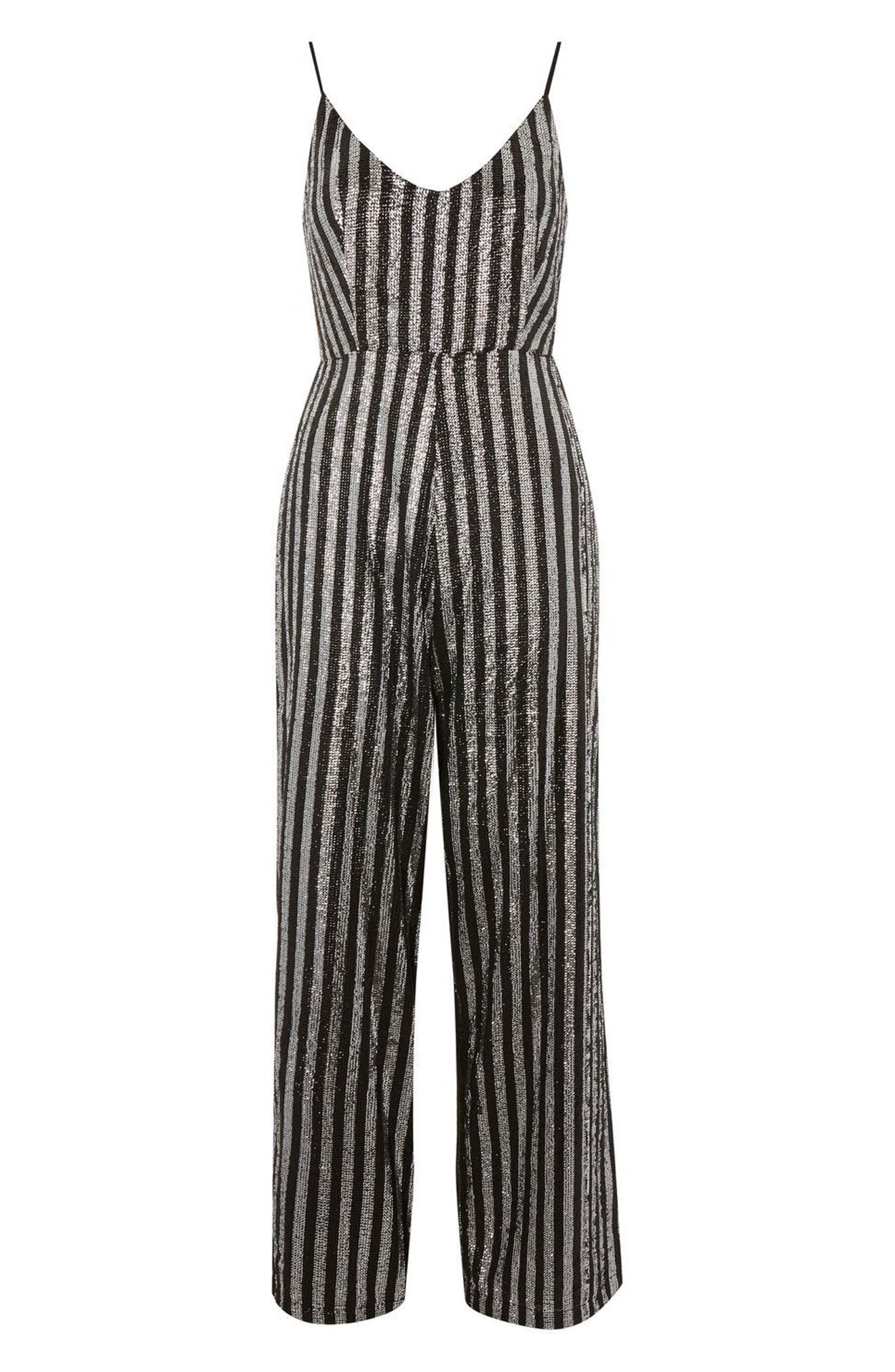 Sequin Stripe Jumpsuit,                             Alternate thumbnail 4, color,                             Silver Multi