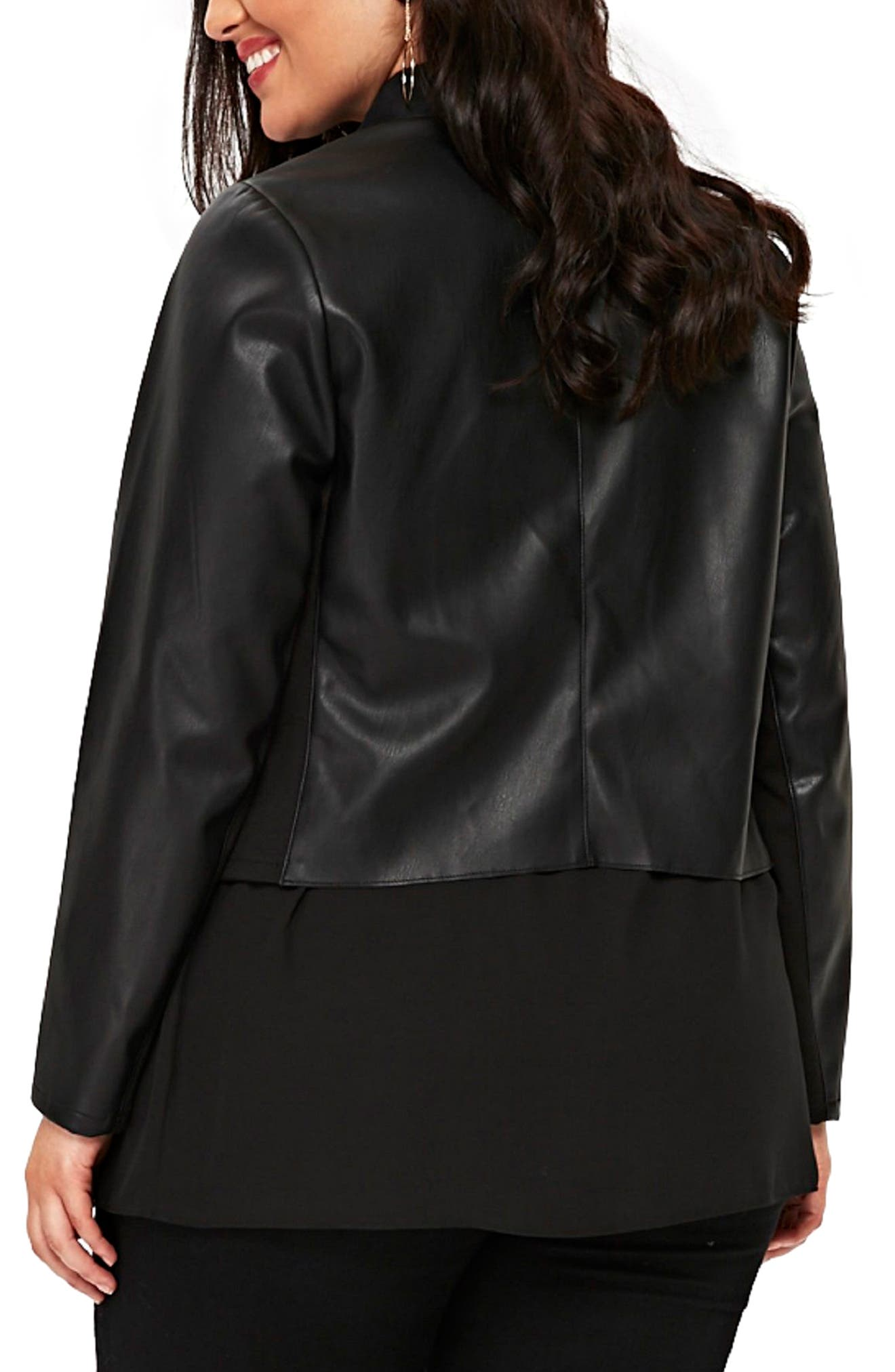 Drape Lapel Faux Leather Jacket,                             Alternate thumbnail 2, color,                             Black