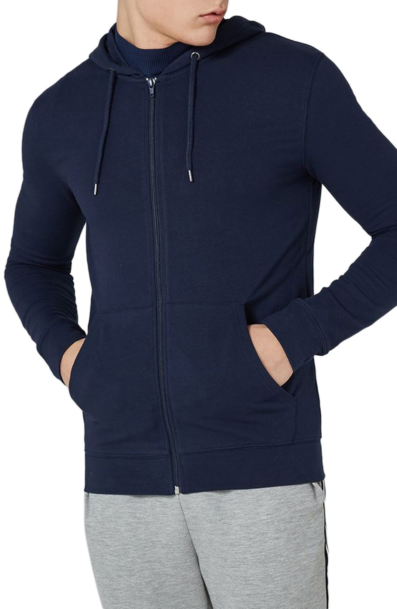 Topman Muscle Fit Zip Through Hoodie