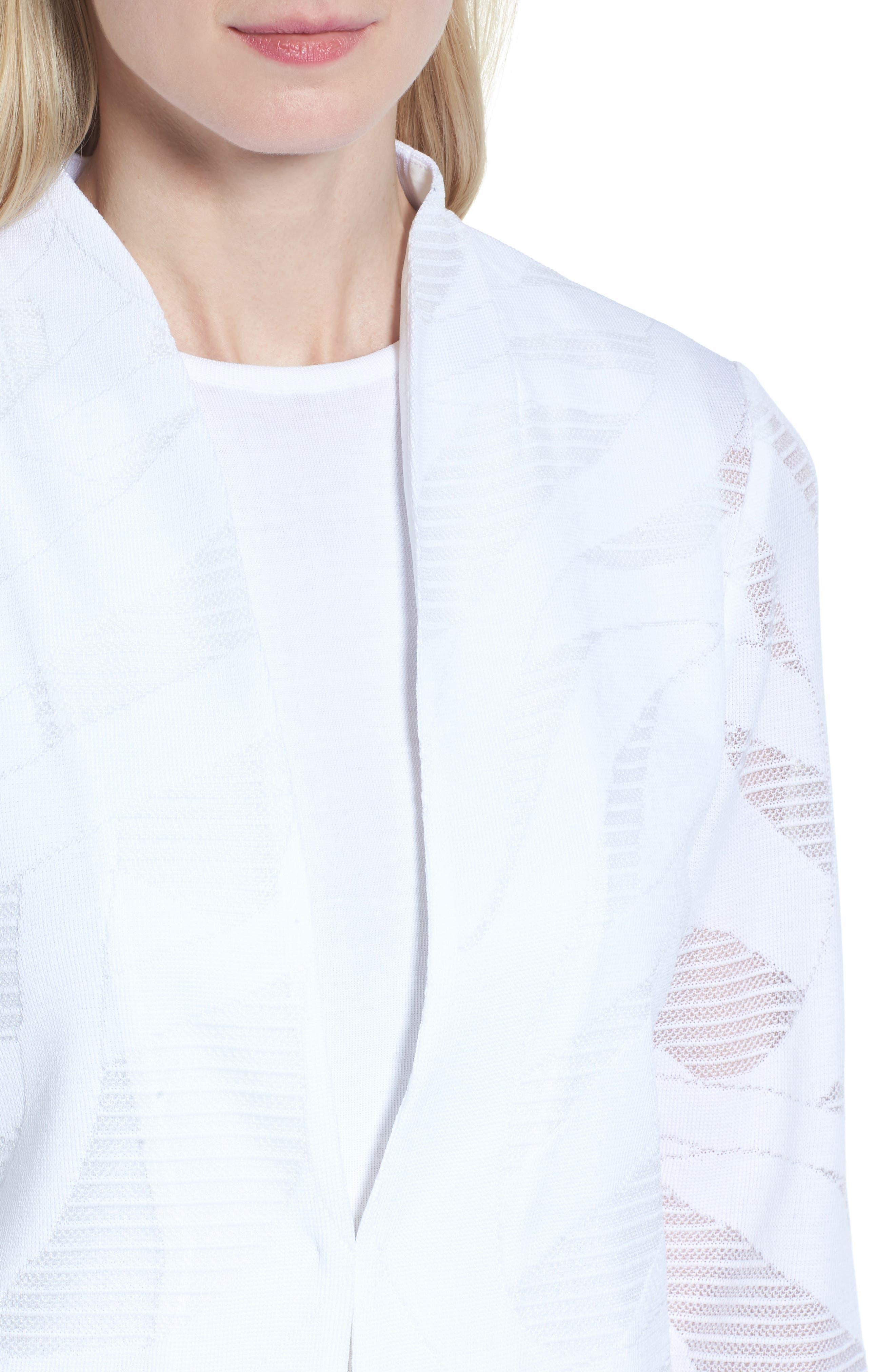Mesh Inset Jacquard Jacket,                             Alternate thumbnail 4, color,                             White
