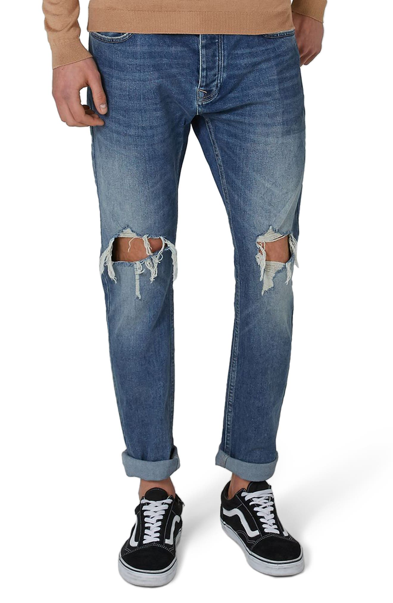 Polly Ripped Jeans,                         Main,                         color, Blue