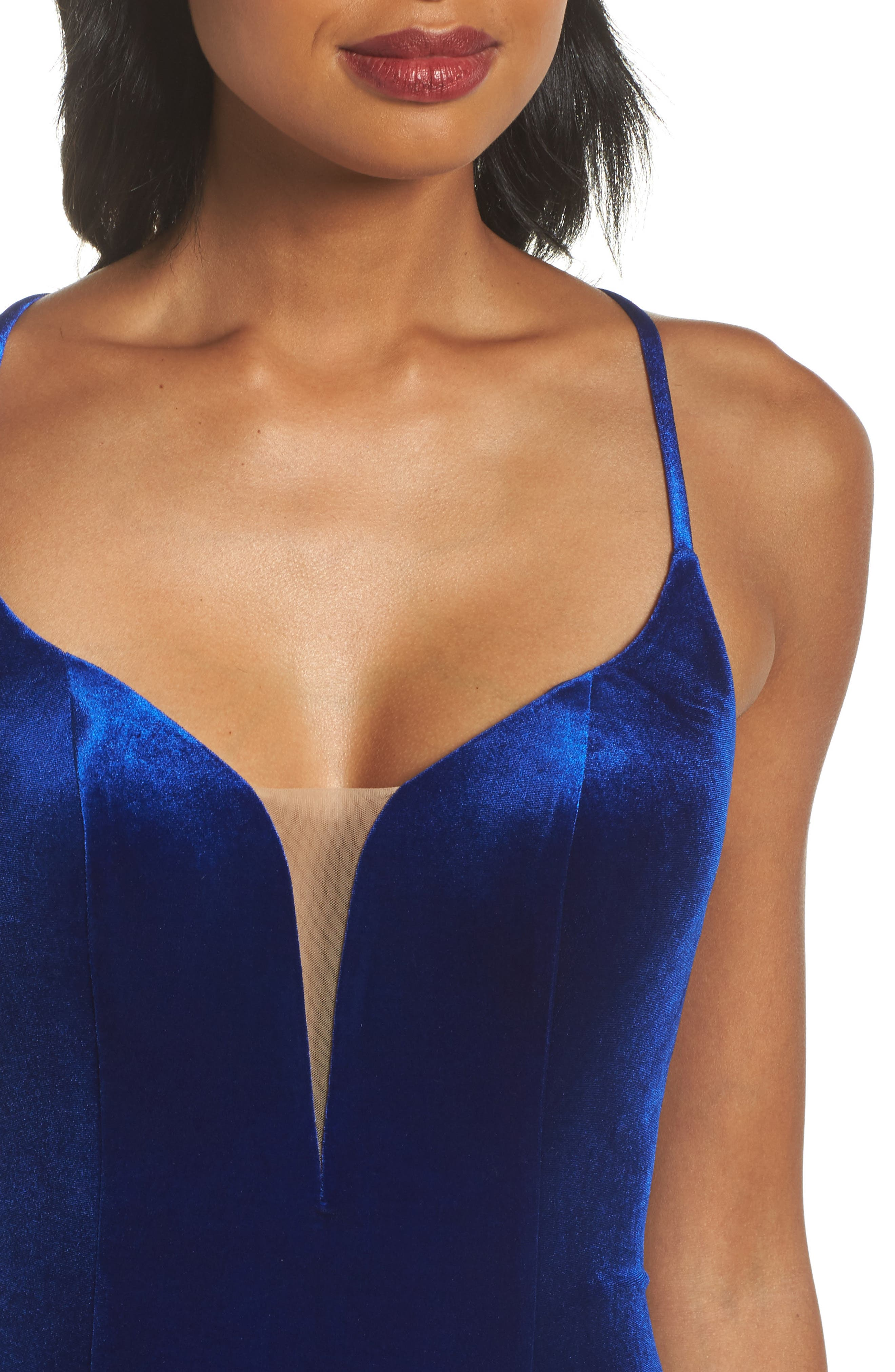 Crisscross Back Velvet Gown,                             Alternate thumbnail 4, color,                             Royal Blue