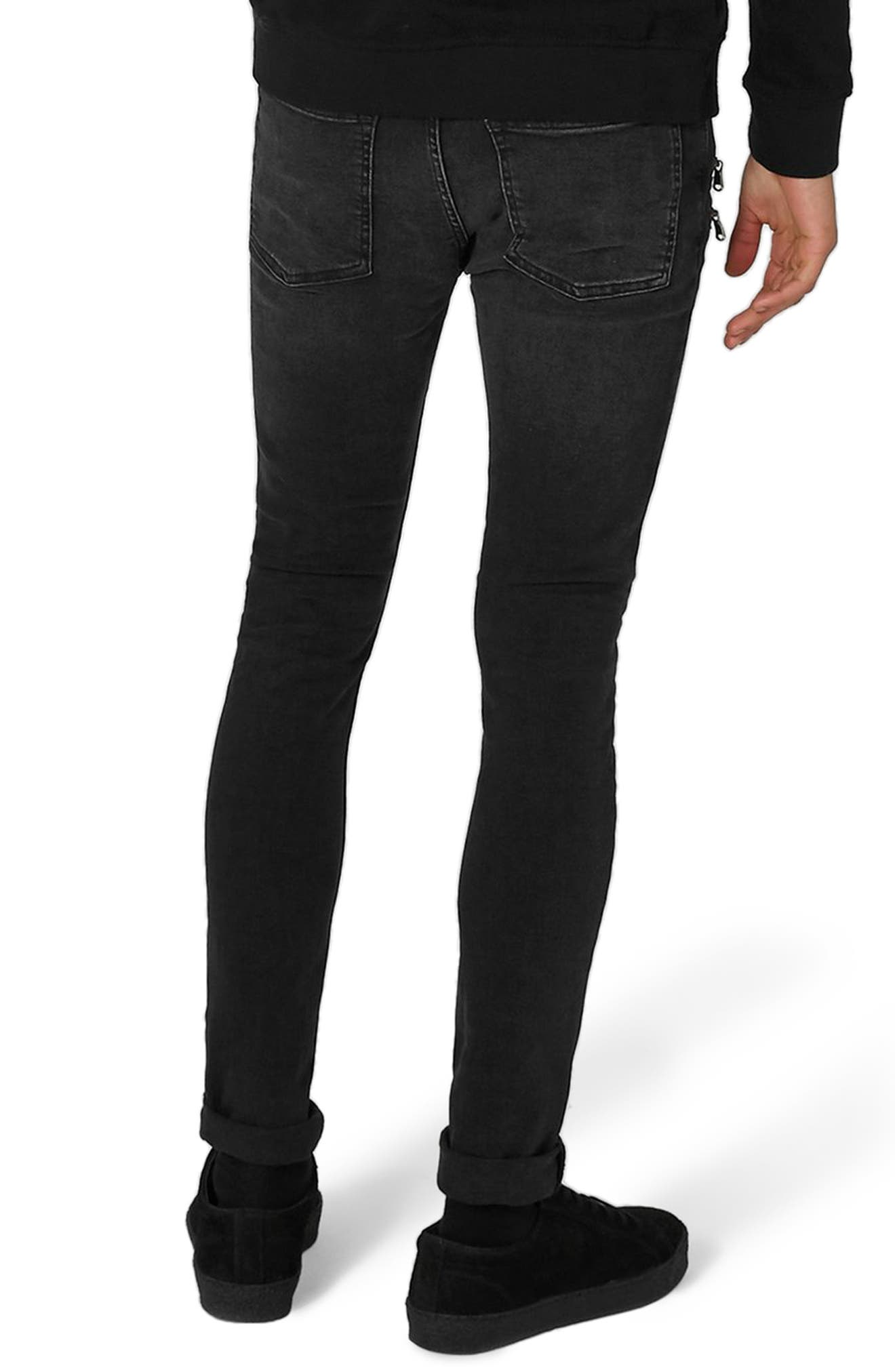 Alternate Image 2  - Topman Double Zip Spray-On Jeans