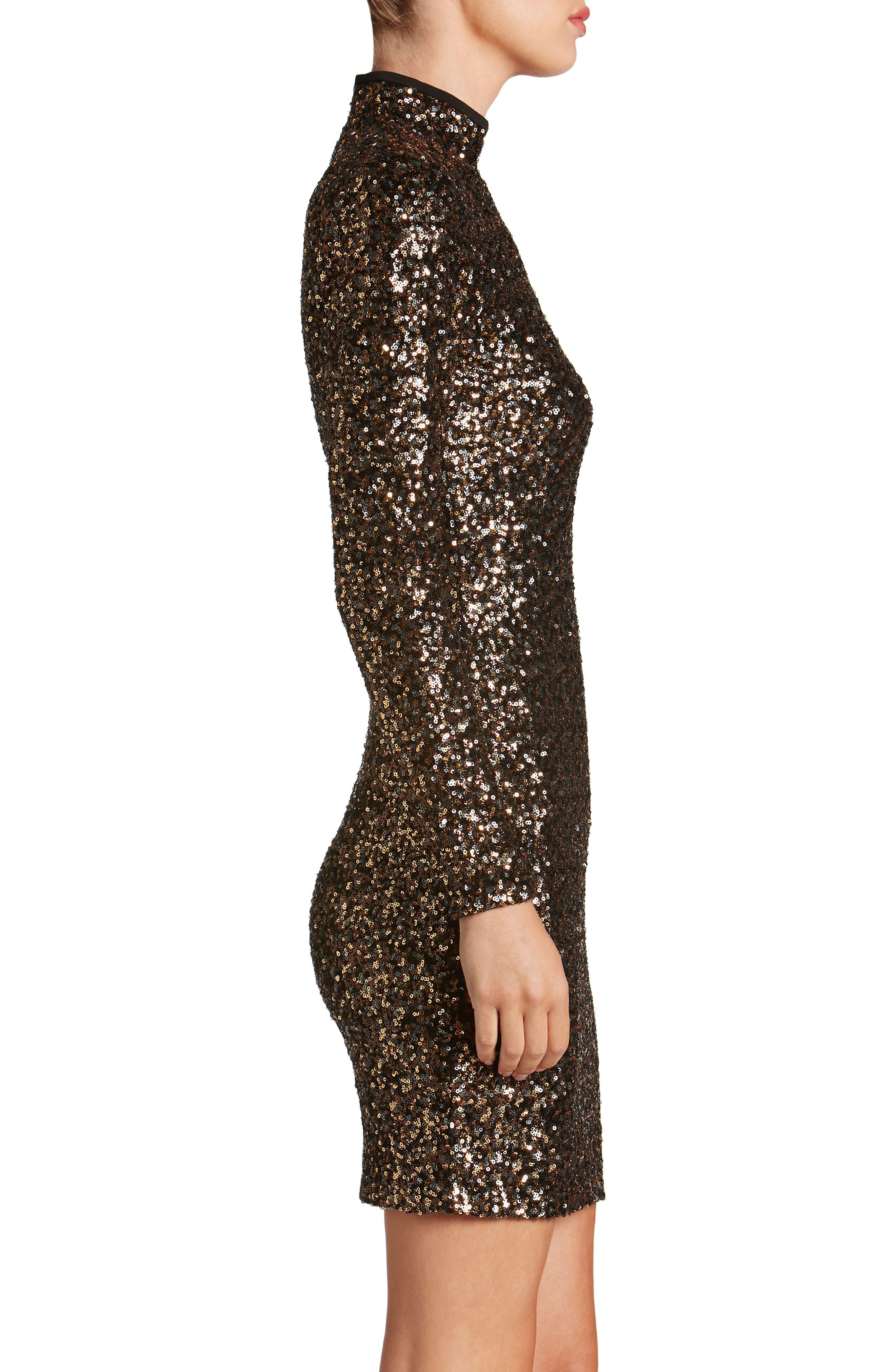 Janis Sequin Body-Con Dress,                             Alternate thumbnail 3, color,                             Antique Gold