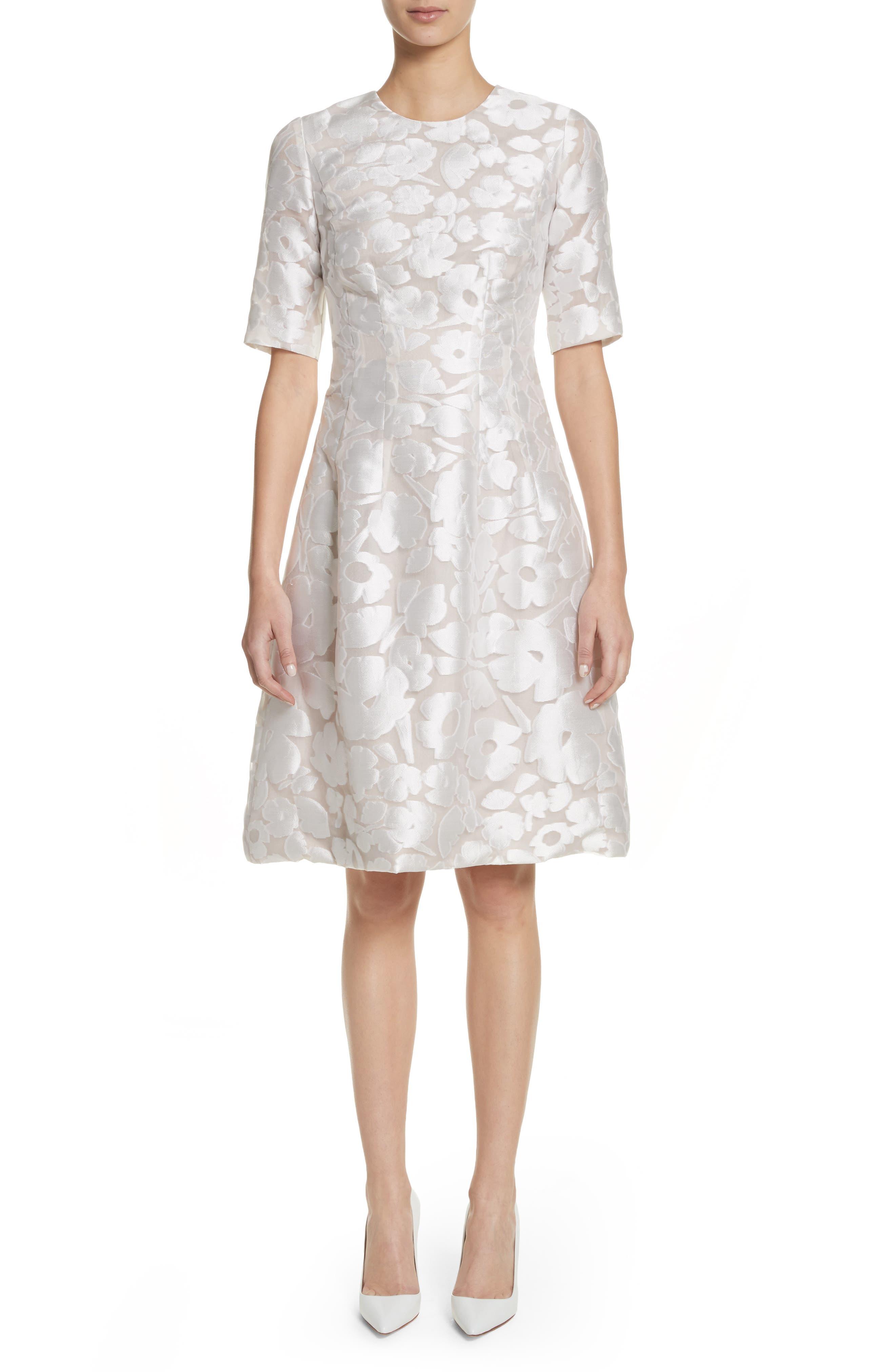 Holly Flower Print Dress,                             Main thumbnail 1, color,                             White