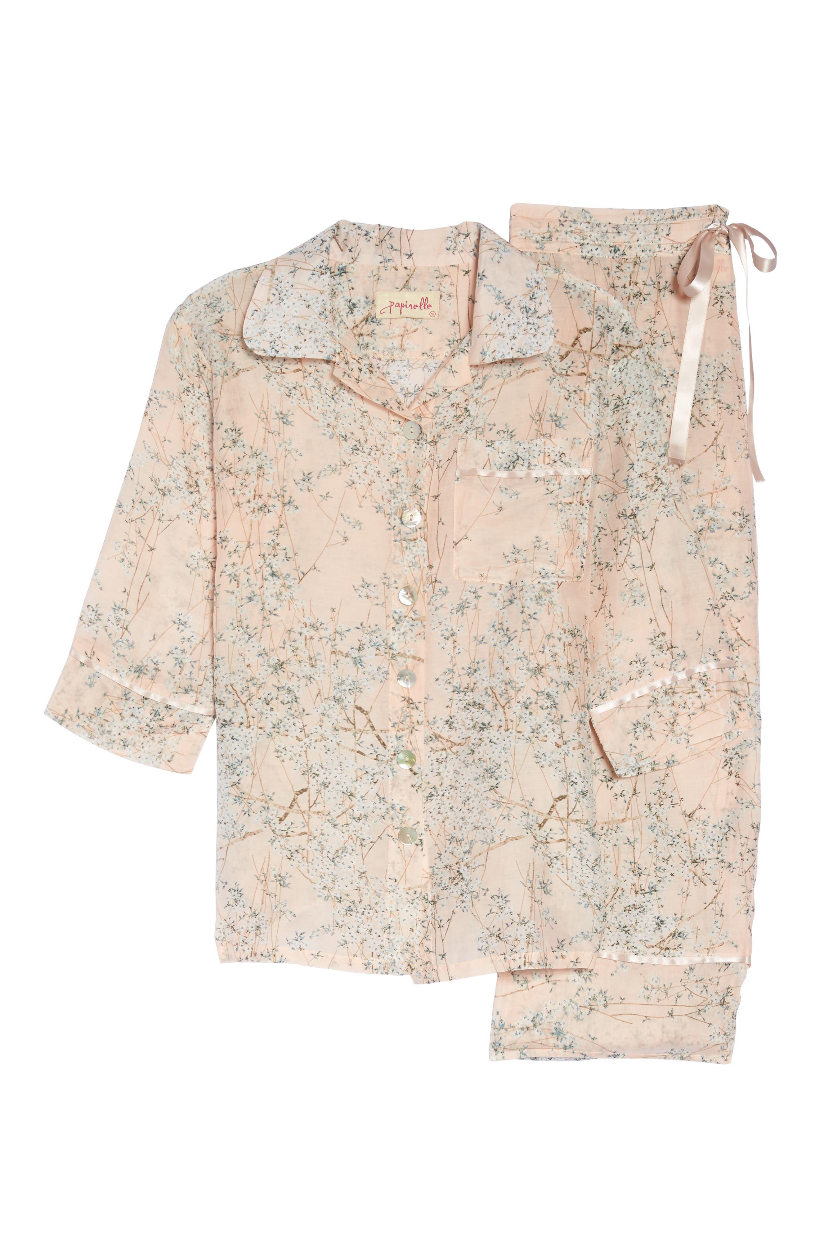 Cherry Blossom Cotton & Silk Crop Pajamas,                             Alternate thumbnail 4, color,                             Pink