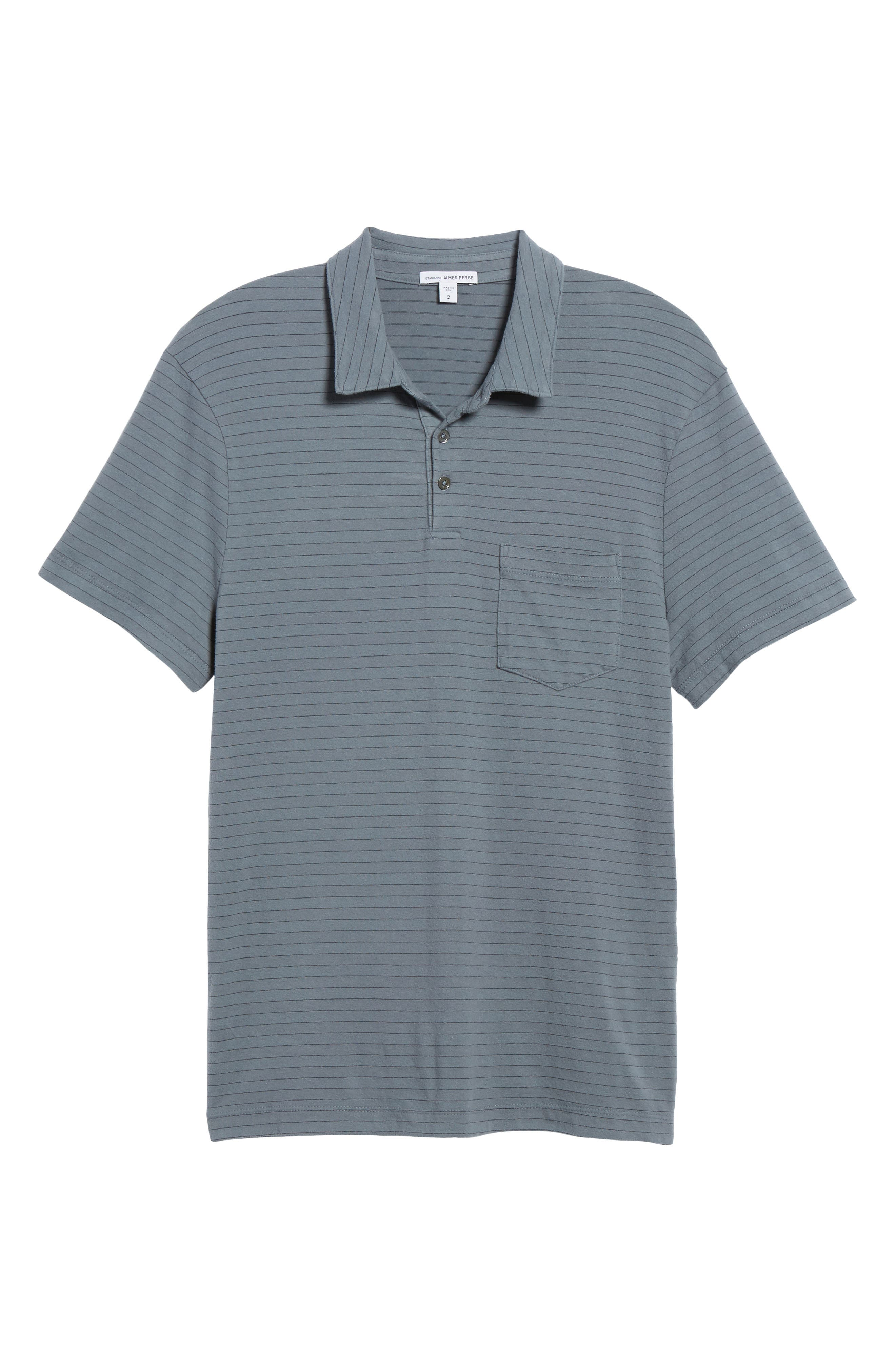 Shadow Stripe Jersey Pocket Polo,                             Alternate thumbnail 6, color,                             North