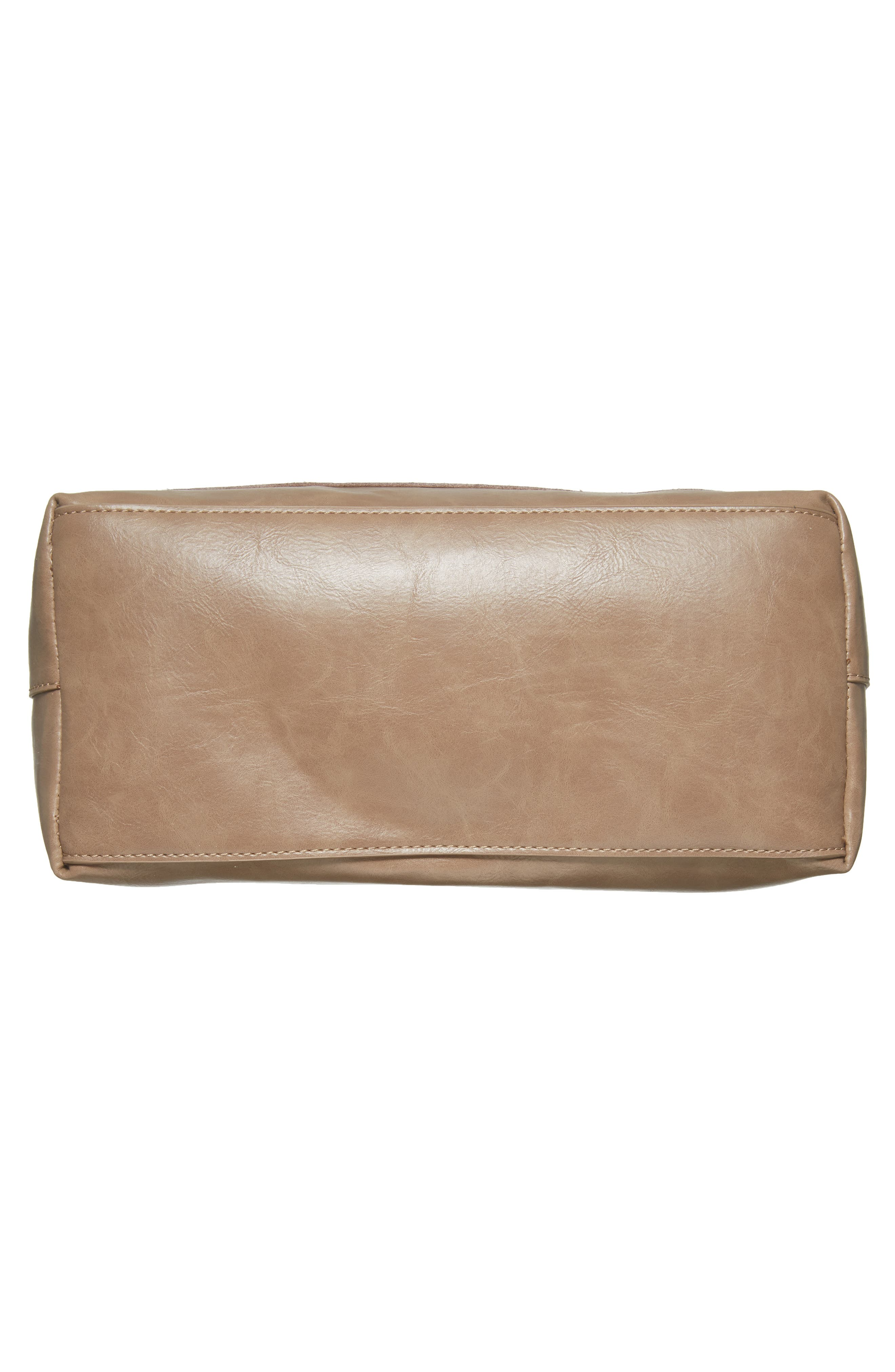 Trish Faux Leather Tote,                             Alternate thumbnail 6, color,                             Taupe