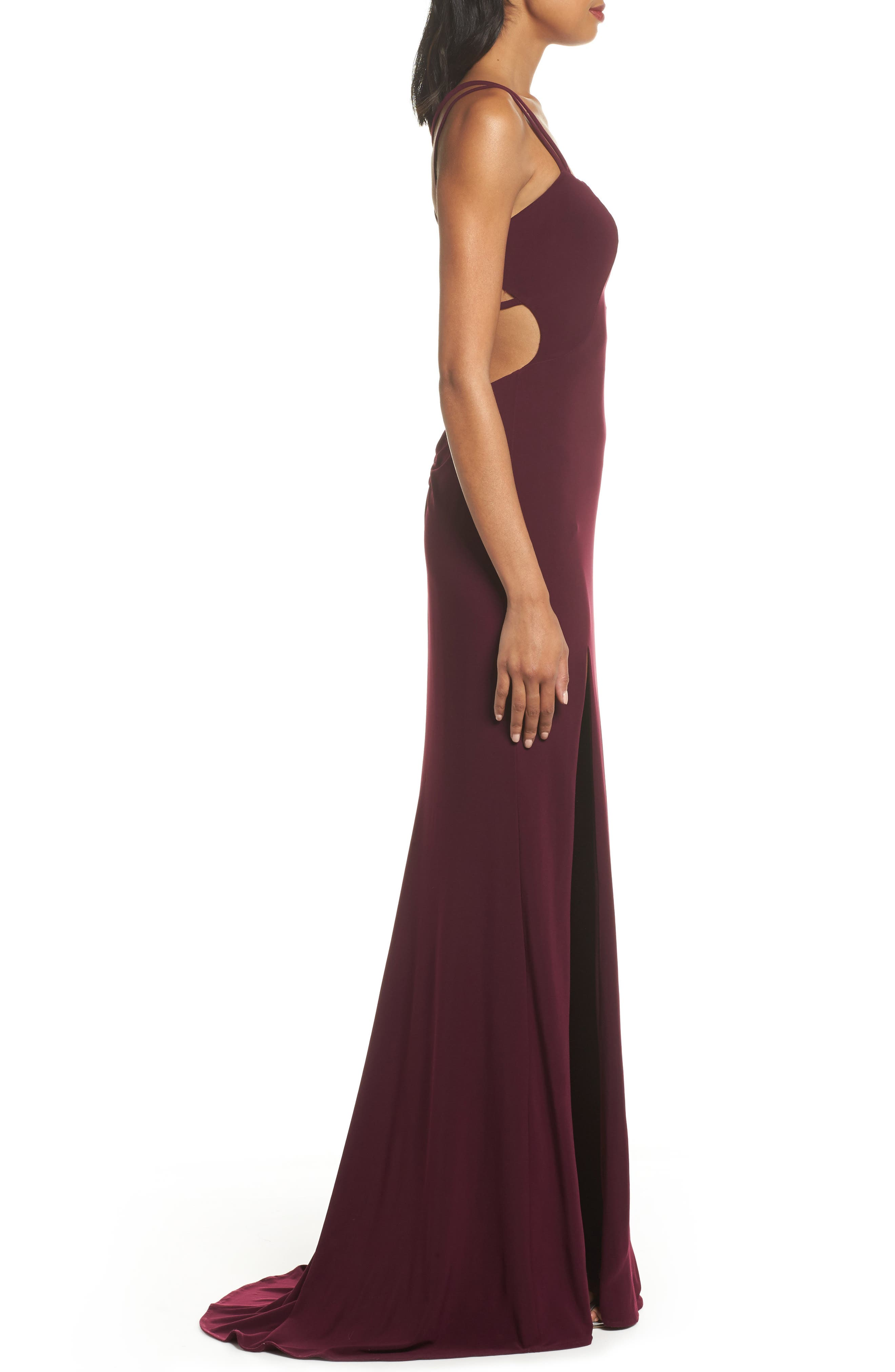 Alternate Image 3  - La Femme Open Back Jersey Gown