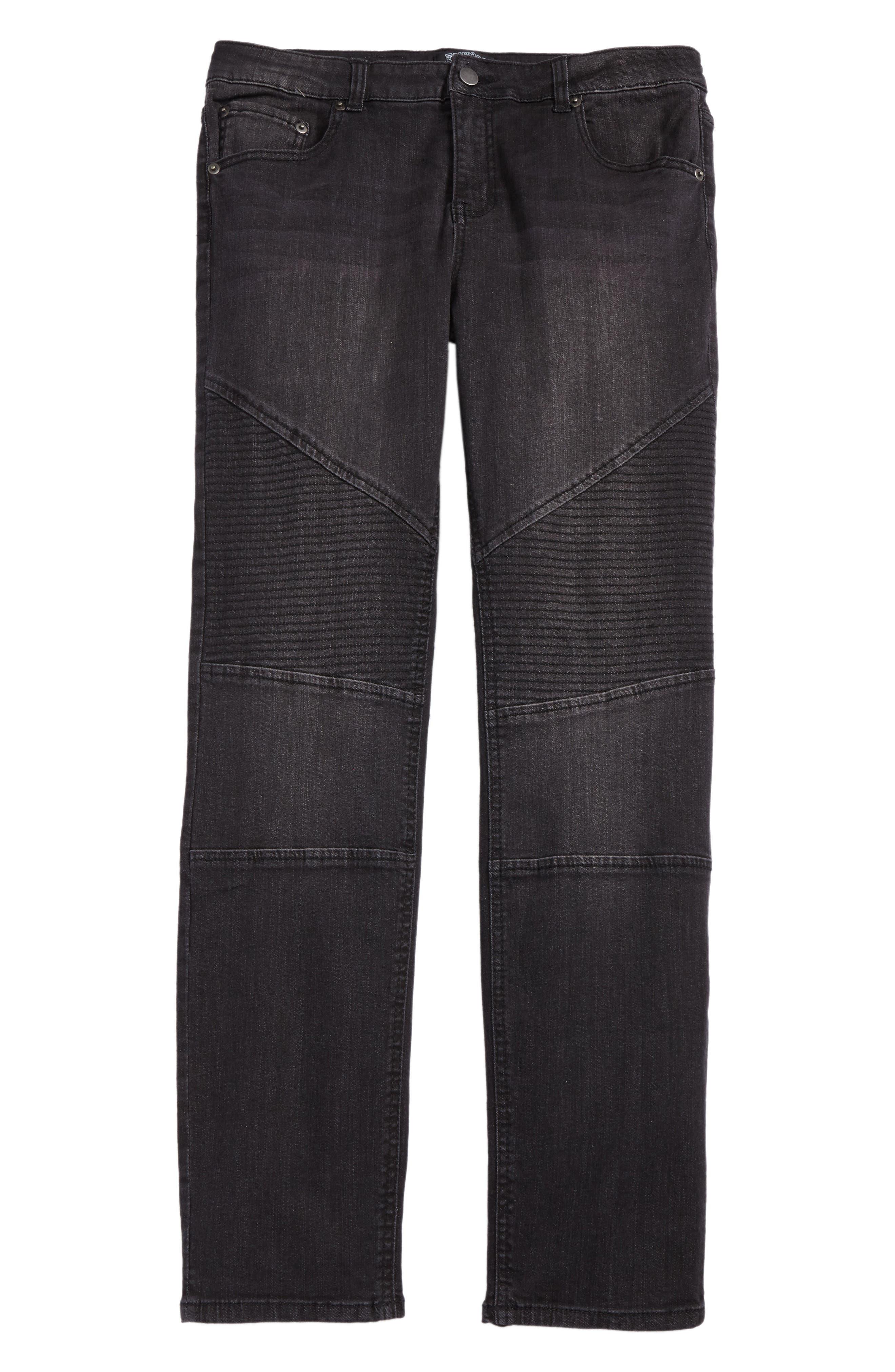 Alternate Image 1 Selected - Elwood Straight Leg Moto Jeans (Big Boys)