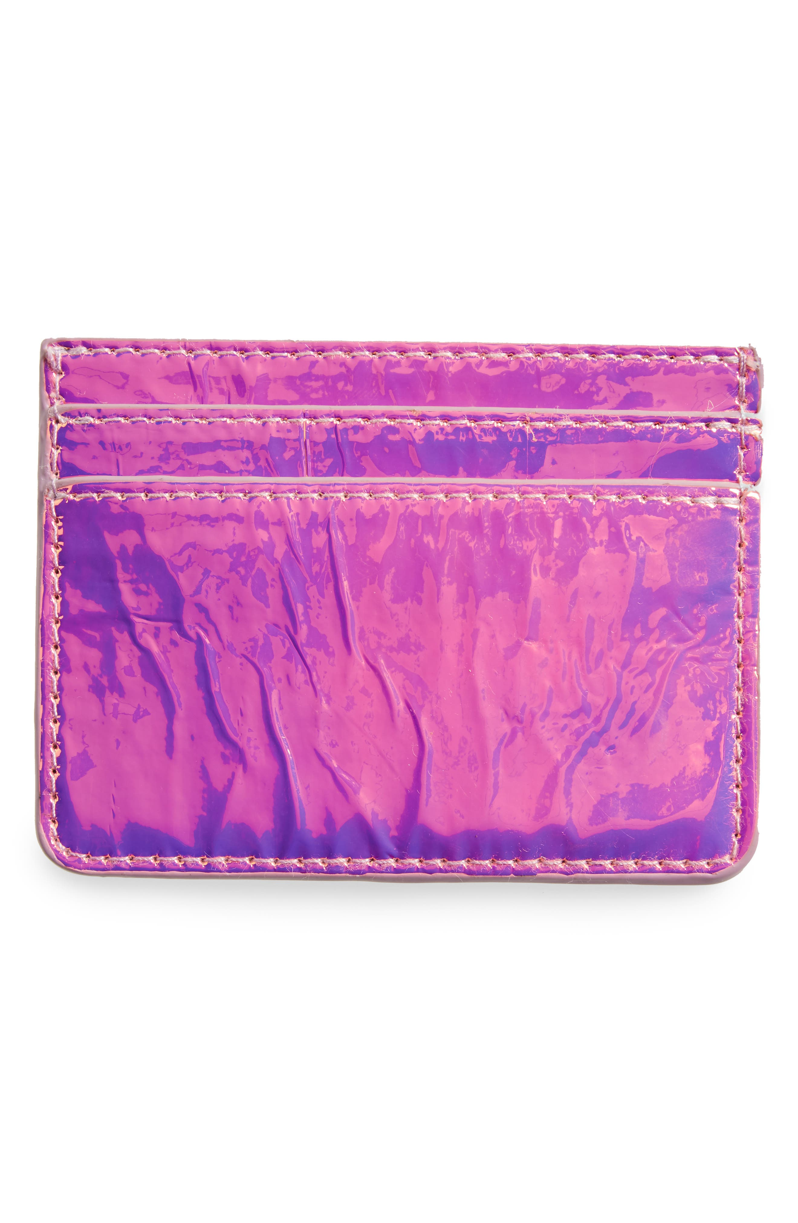 Holographic Card Case,                             Alternate thumbnail 2, color,                             Pink