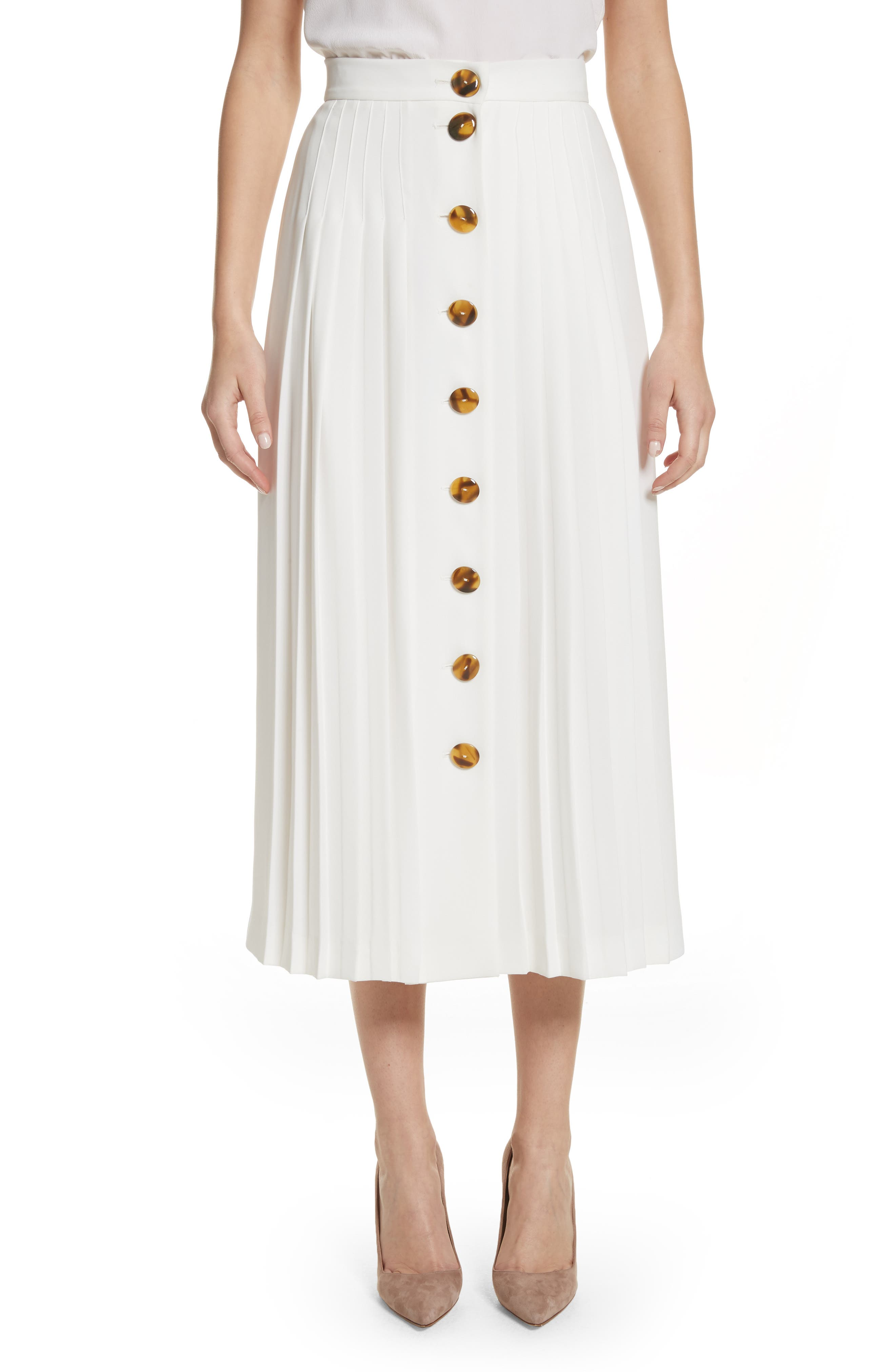 Pleated Button Skirt,                         Main,                         color, White