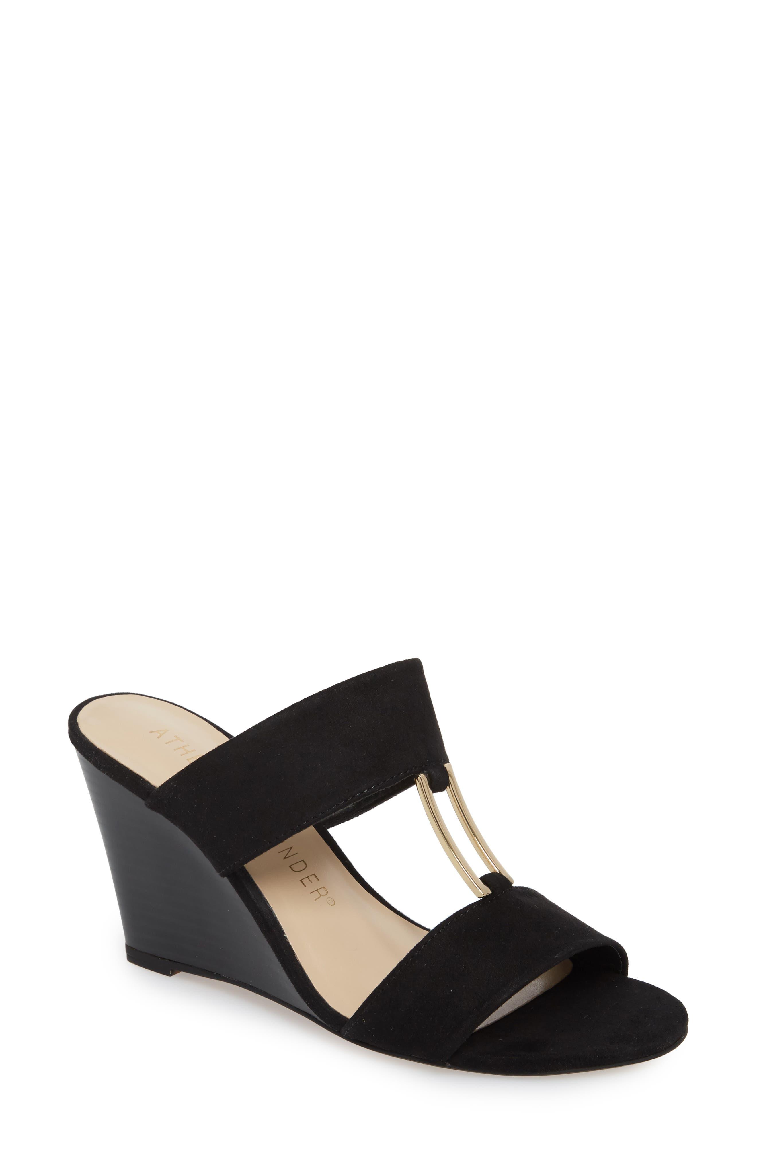 Ellis Wedge Sandal,                         Main,                         color, Black Suede