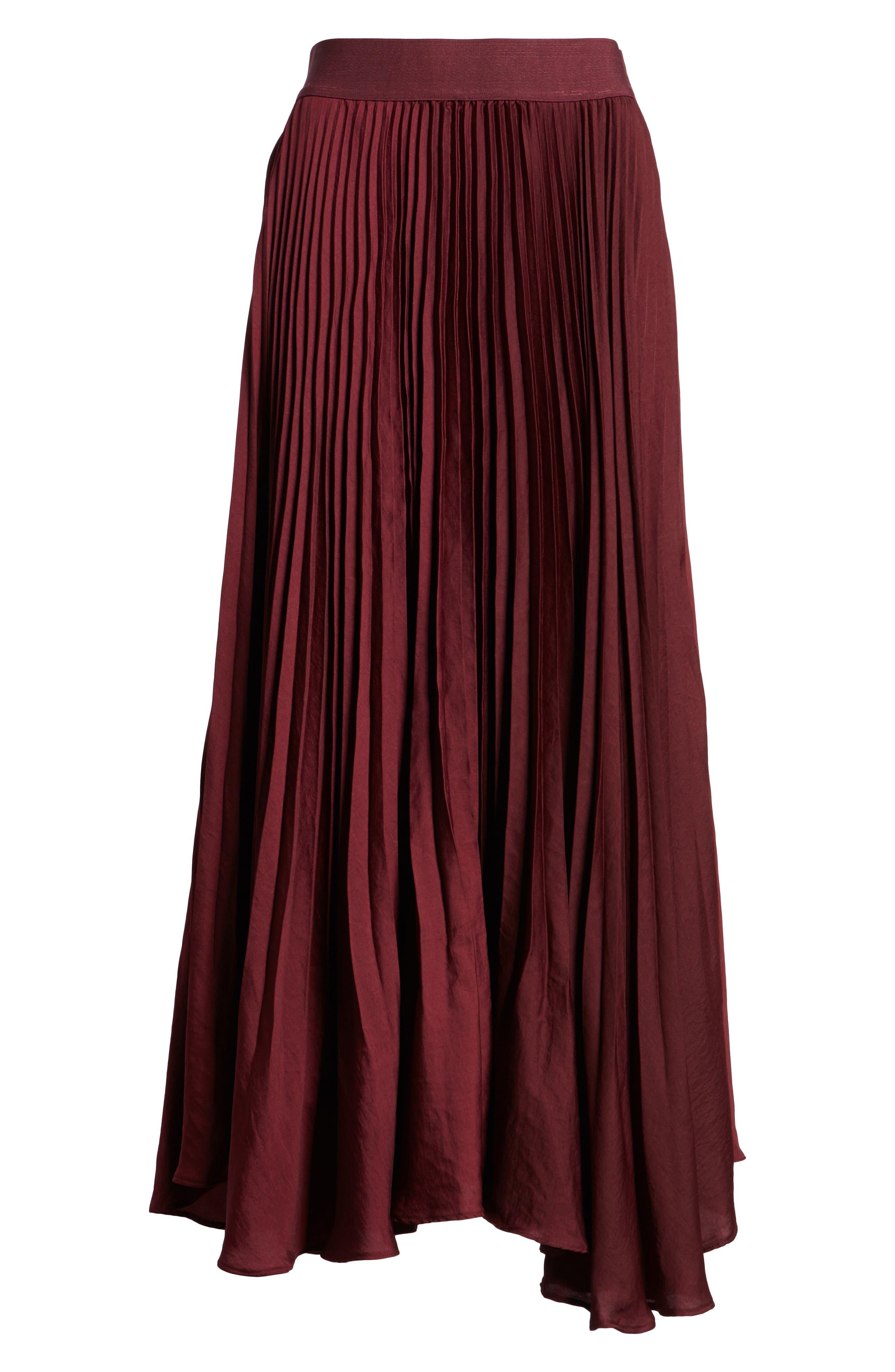 Pleated Midi Skirt,                             Alternate thumbnail 6, color,                             Burgundy