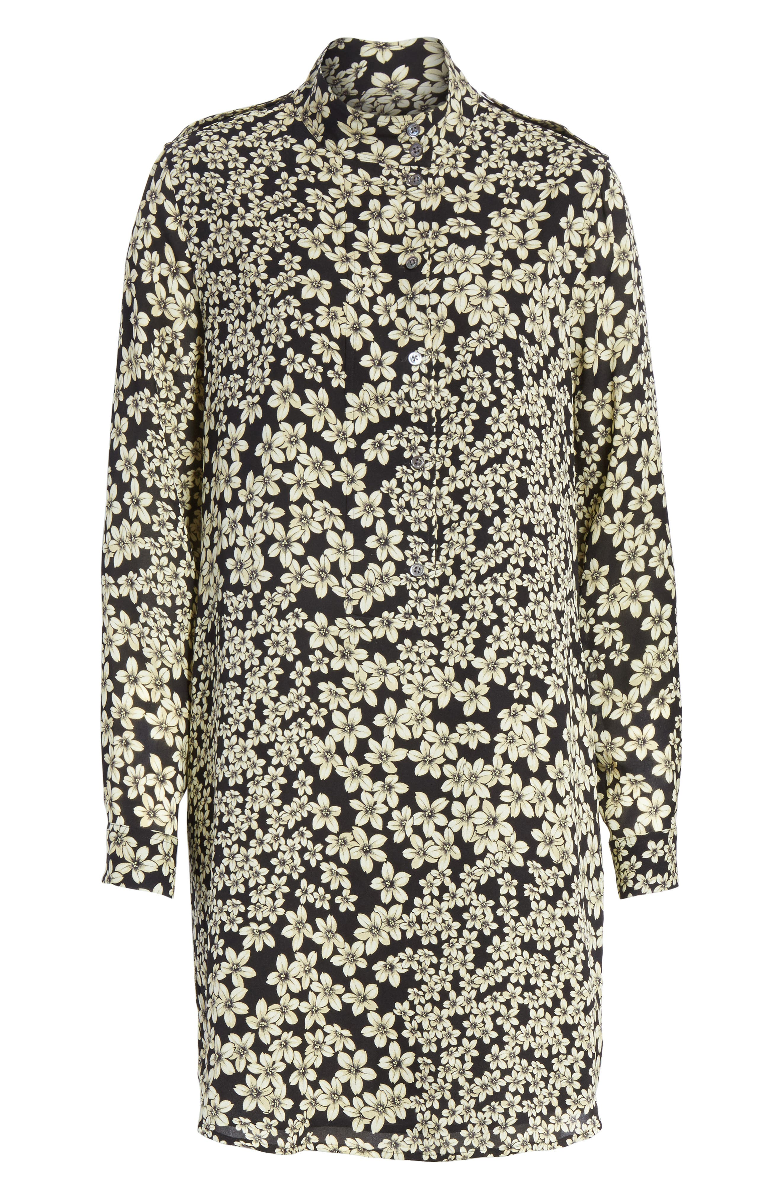 Freda Floral Print Silk Shirtdress,                             Alternate thumbnail 6, color,                             True Black Multi