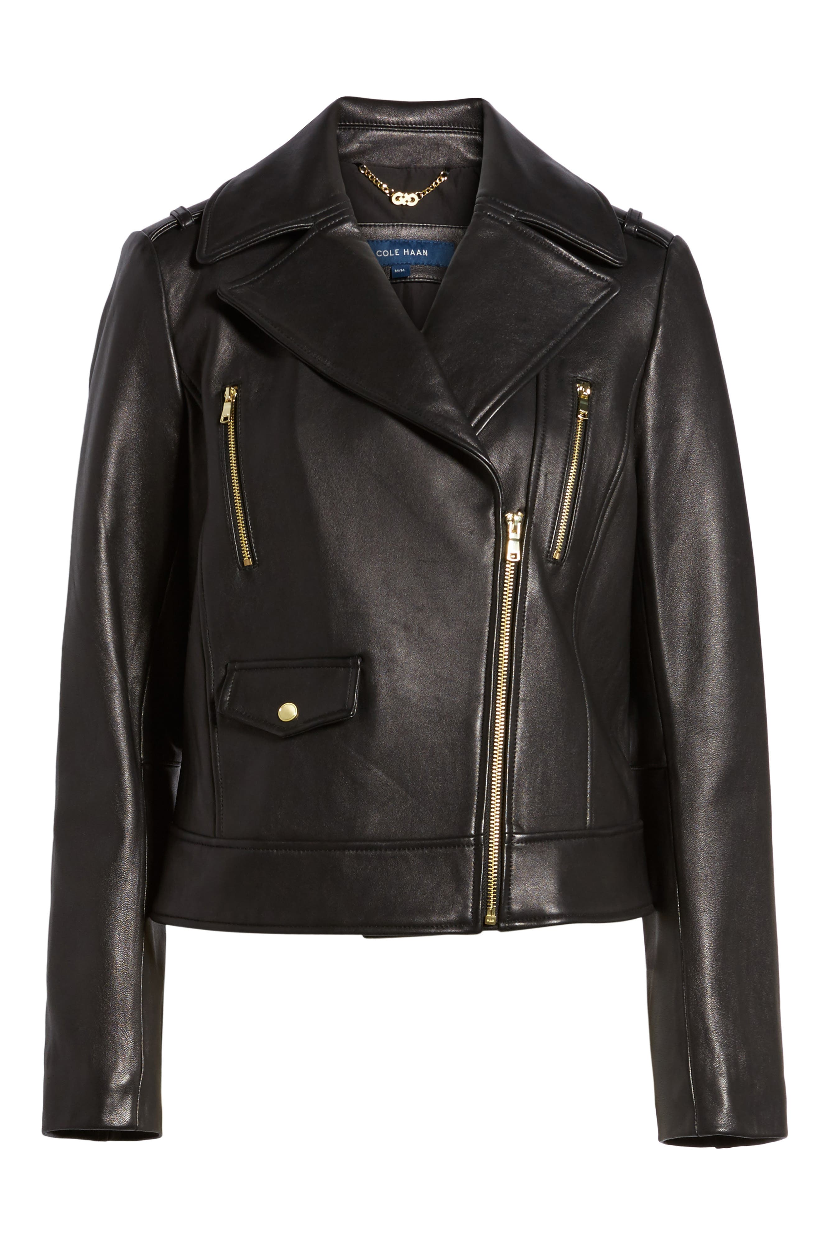 Alternate Image 6  - Cole Haan Signature Leather Moto Jacket