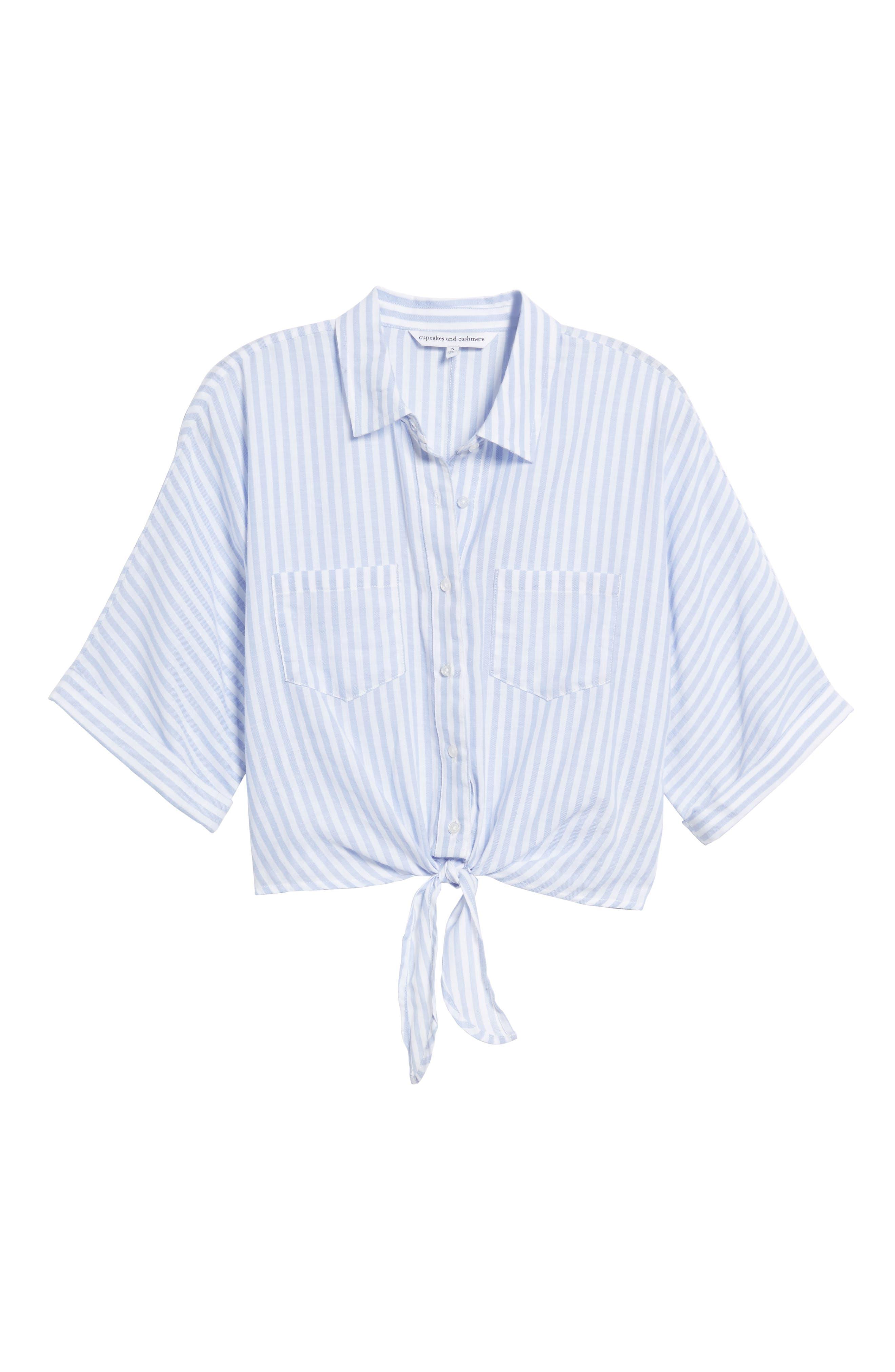 Saundra Tie Waist Crop Shirt,                             Alternate thumbnail 6, color,                             French Blue