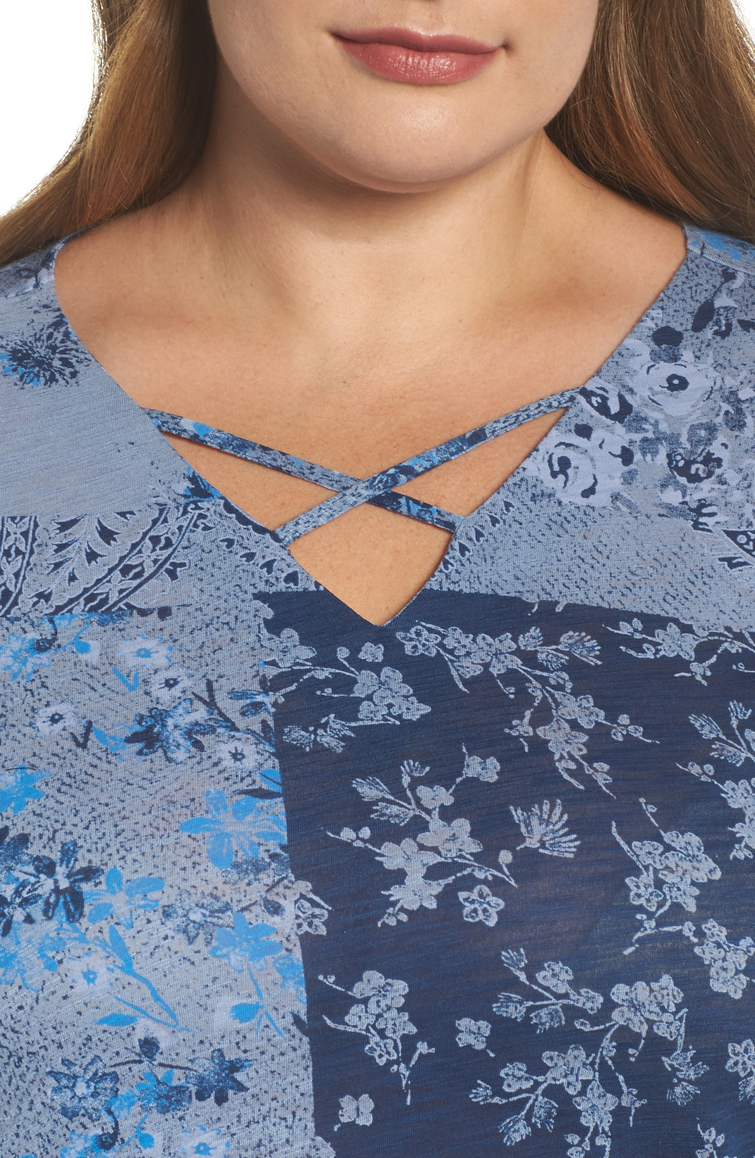 Madeline Floral Top,                             Alternate thumbnail 4, color,                             Blue Multi