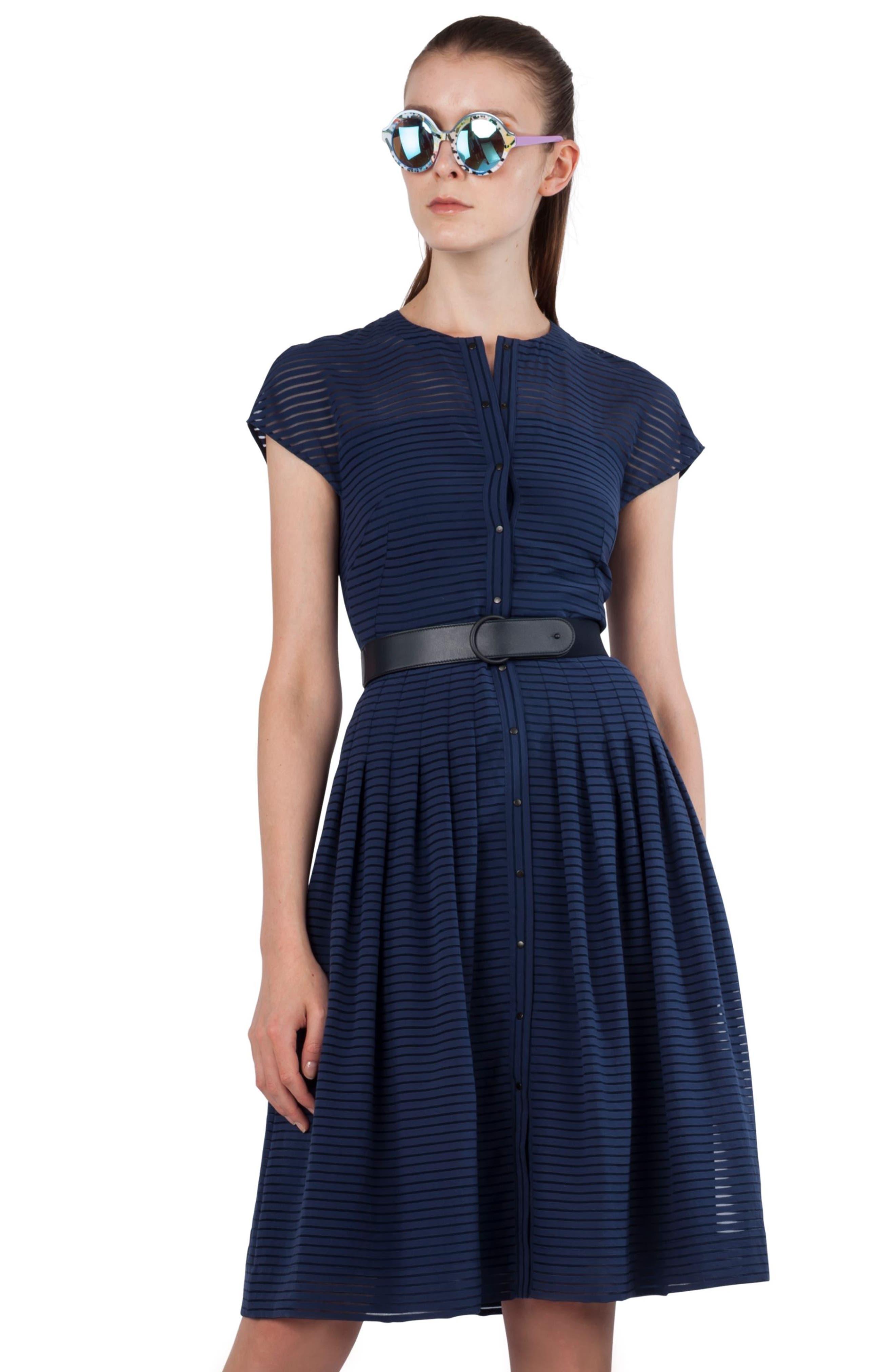 Illusion Stripe Shirtdress,                             Alternate thumbnail 5, color,                             Blue Denim
