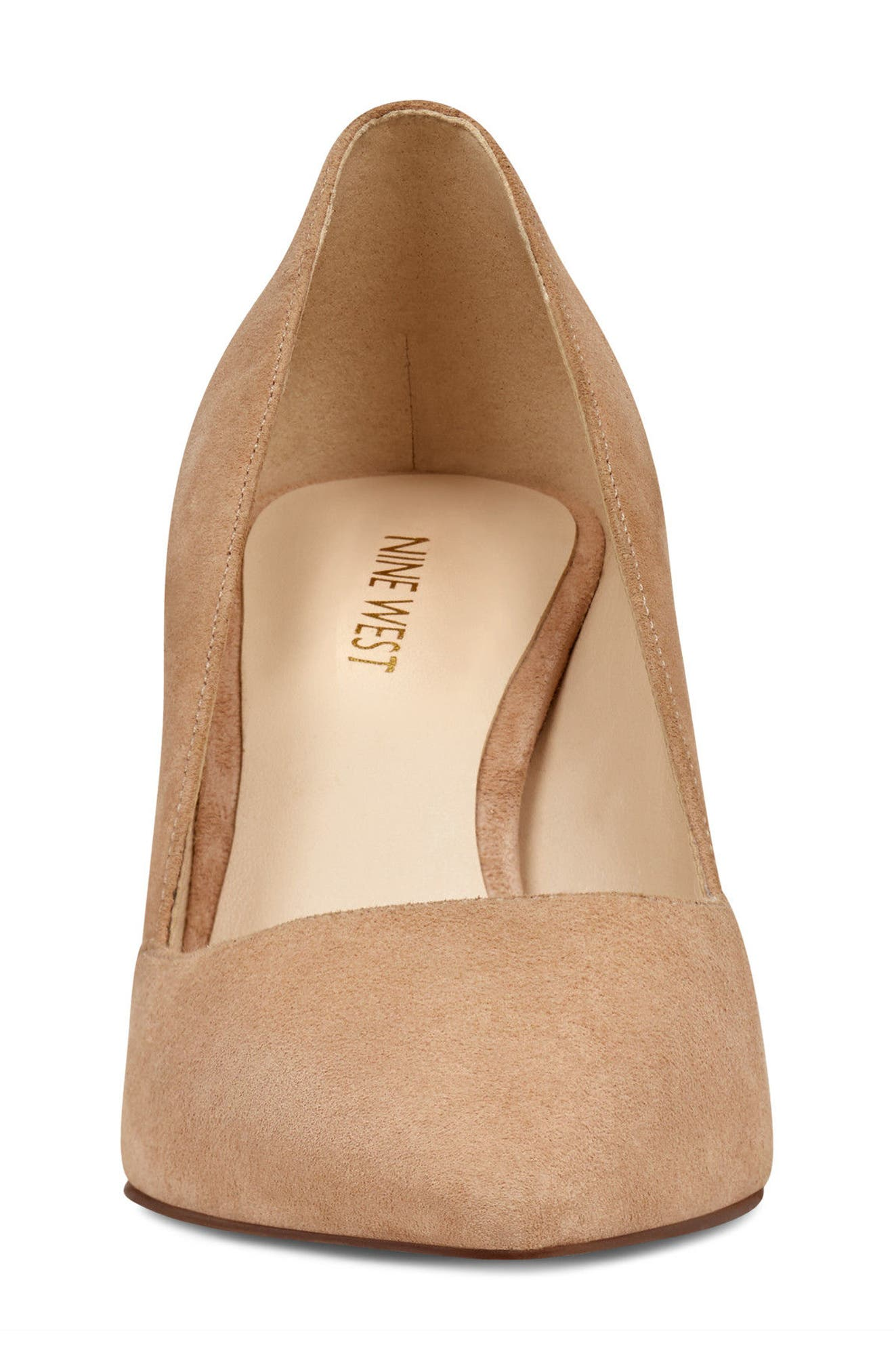 Mine Pointy Toe Pump,                             Alternate thumbnail 4, color,                             Light Natural Suede