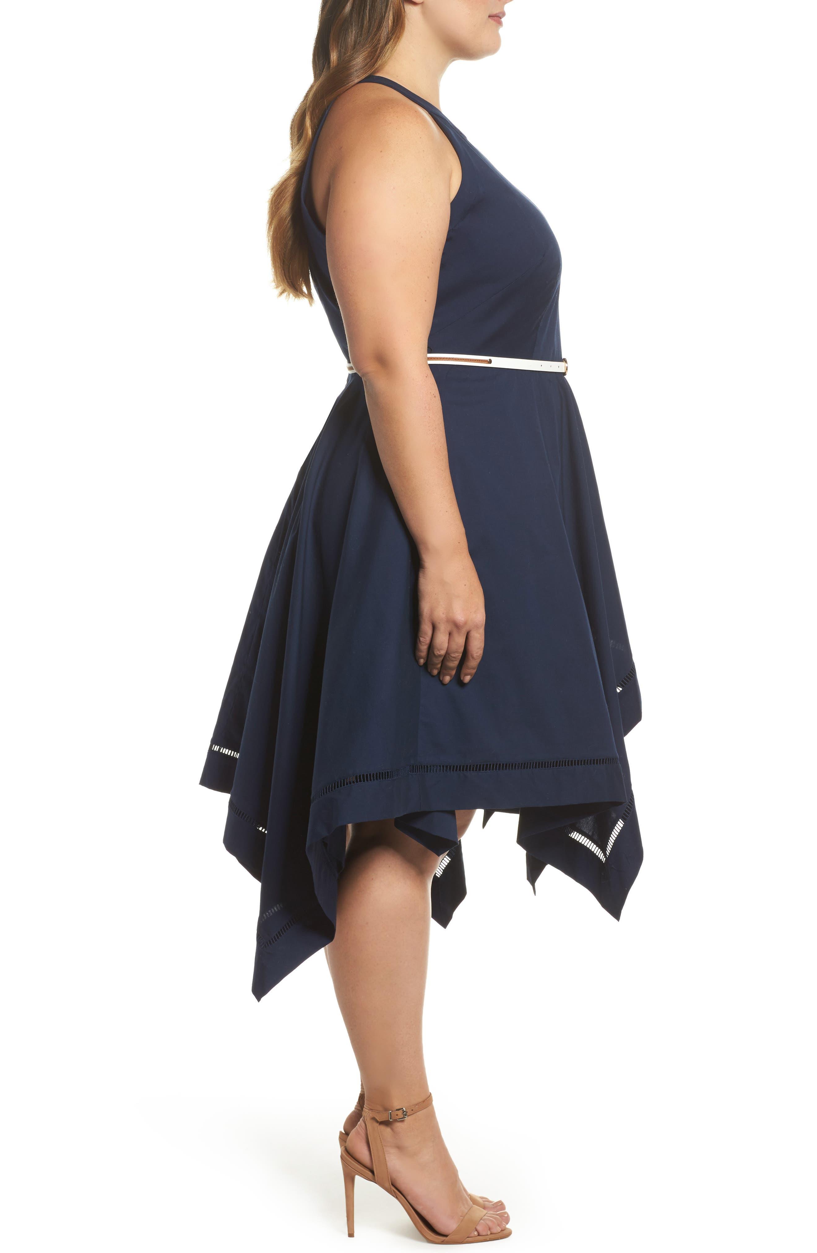 Handkerchief Hem Fit & Flare Dress,                             Alternate thumbnail 3, color,                             Navy