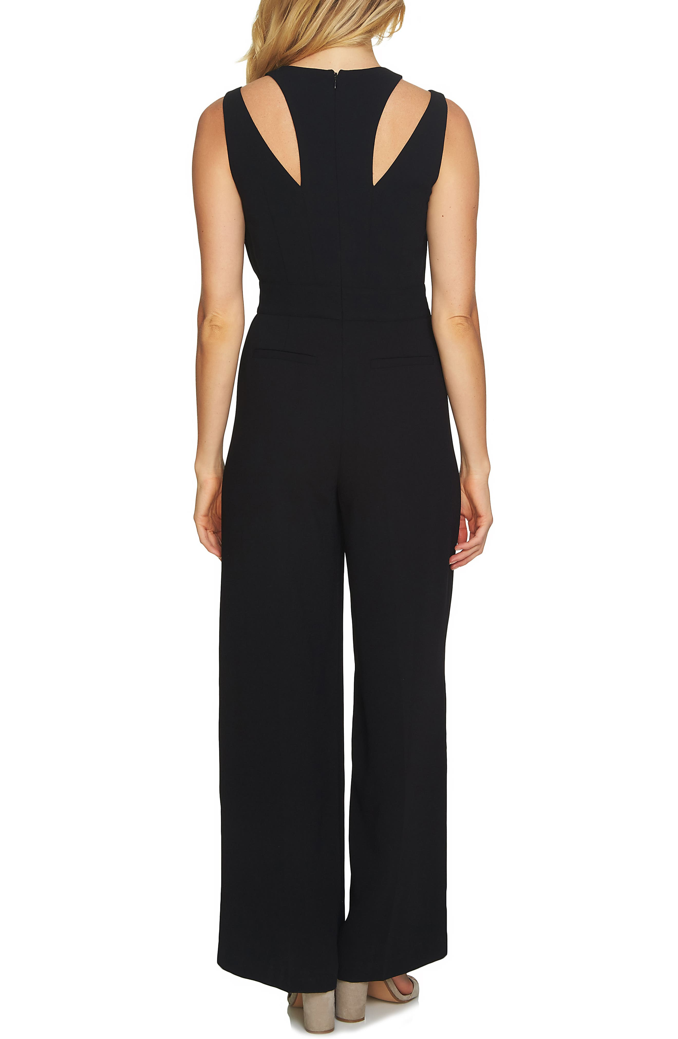 V-Neck Tie Waist Jumpsuit,                             Alternate thumbnail 2, color,                             Rich Black
