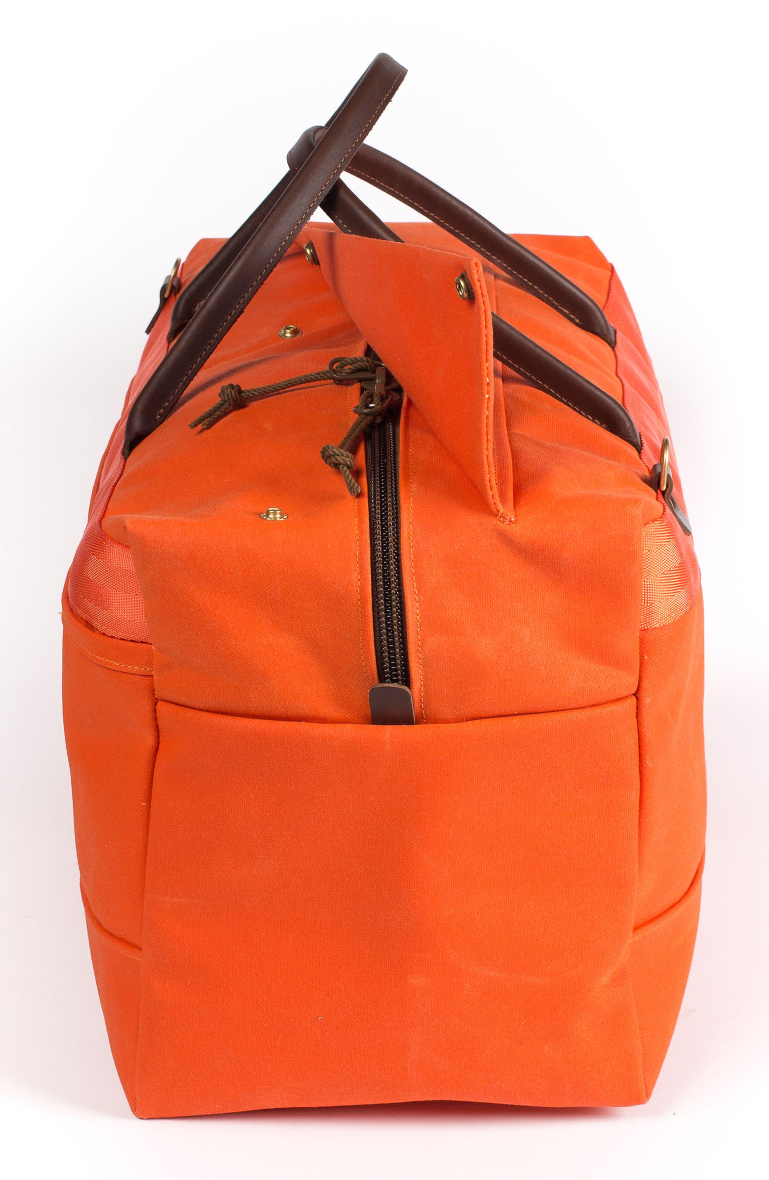 Grand Tourer Waxed Canvas Duffel Bag,                             Alternate thumbnail 3, color,                             Orange