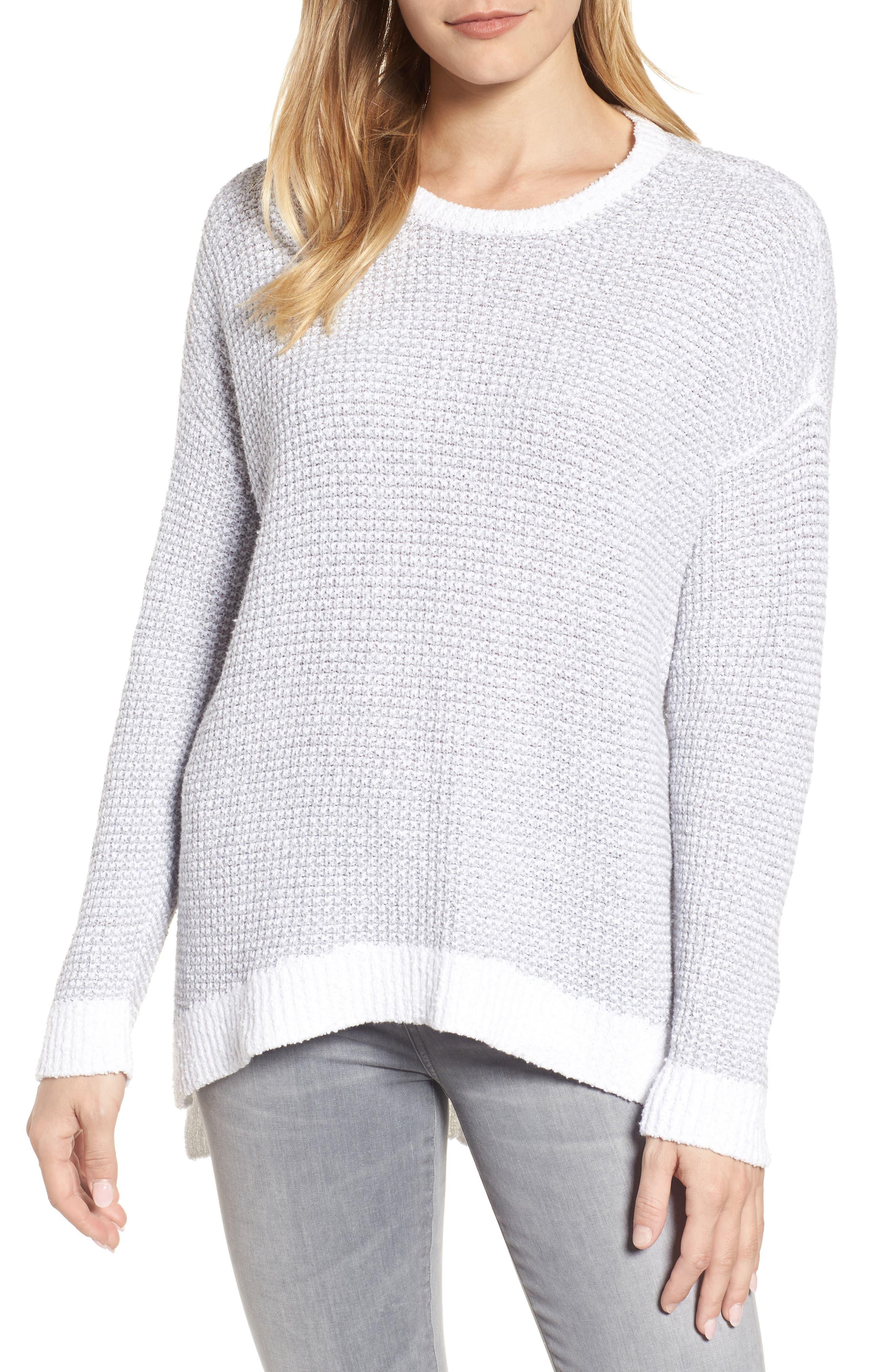 Waffled Organic Cotton Sweater,                         Main,                         color, Dark Pearl
