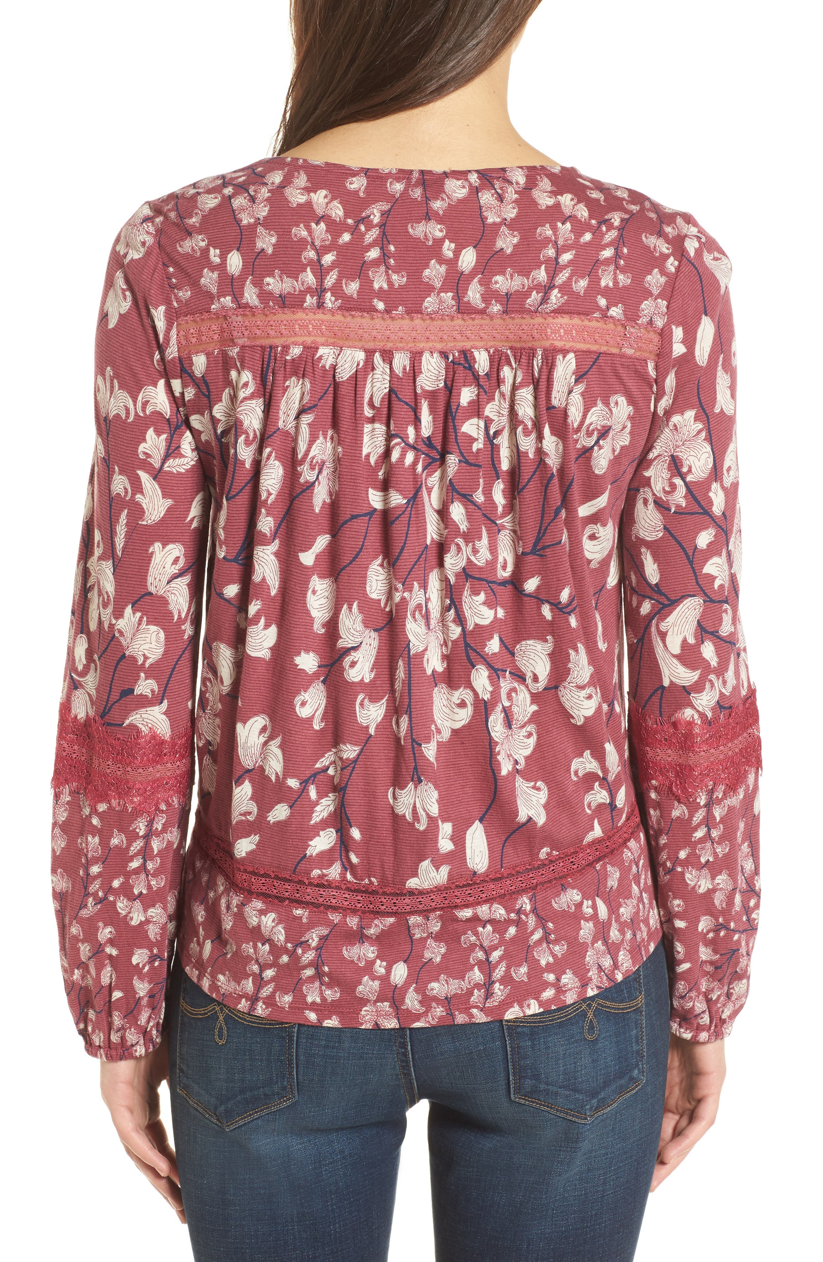 Alternate Image 2  - Lucky Brand Lace Inset Print Knit Top