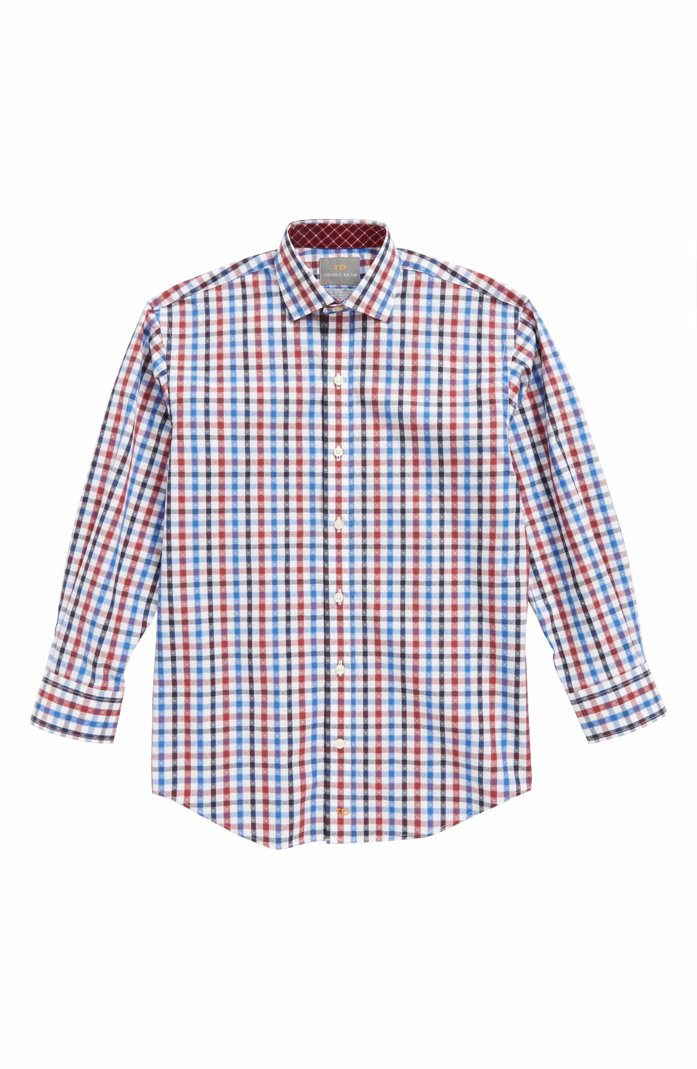 Shadow Check Dress Shirt,                         Main,                         color, Red
