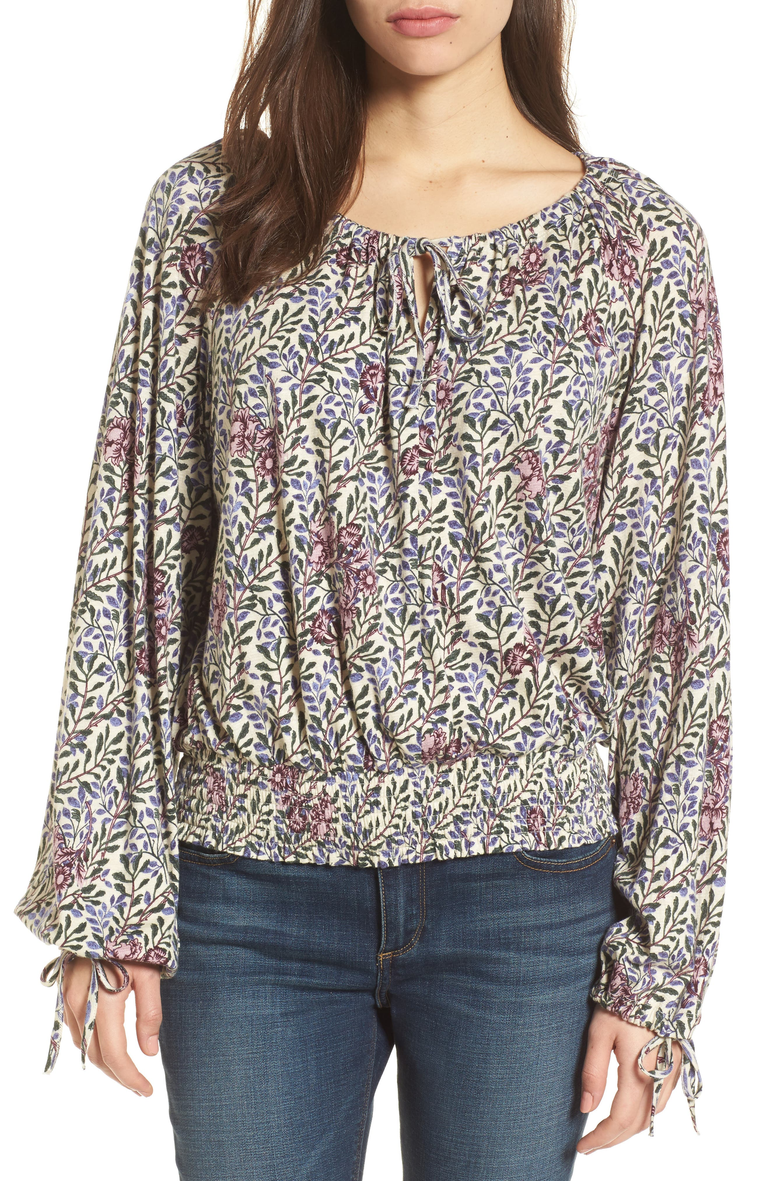 Alternate Image 1 Selected - Lucky Brand Floral Peasant Top