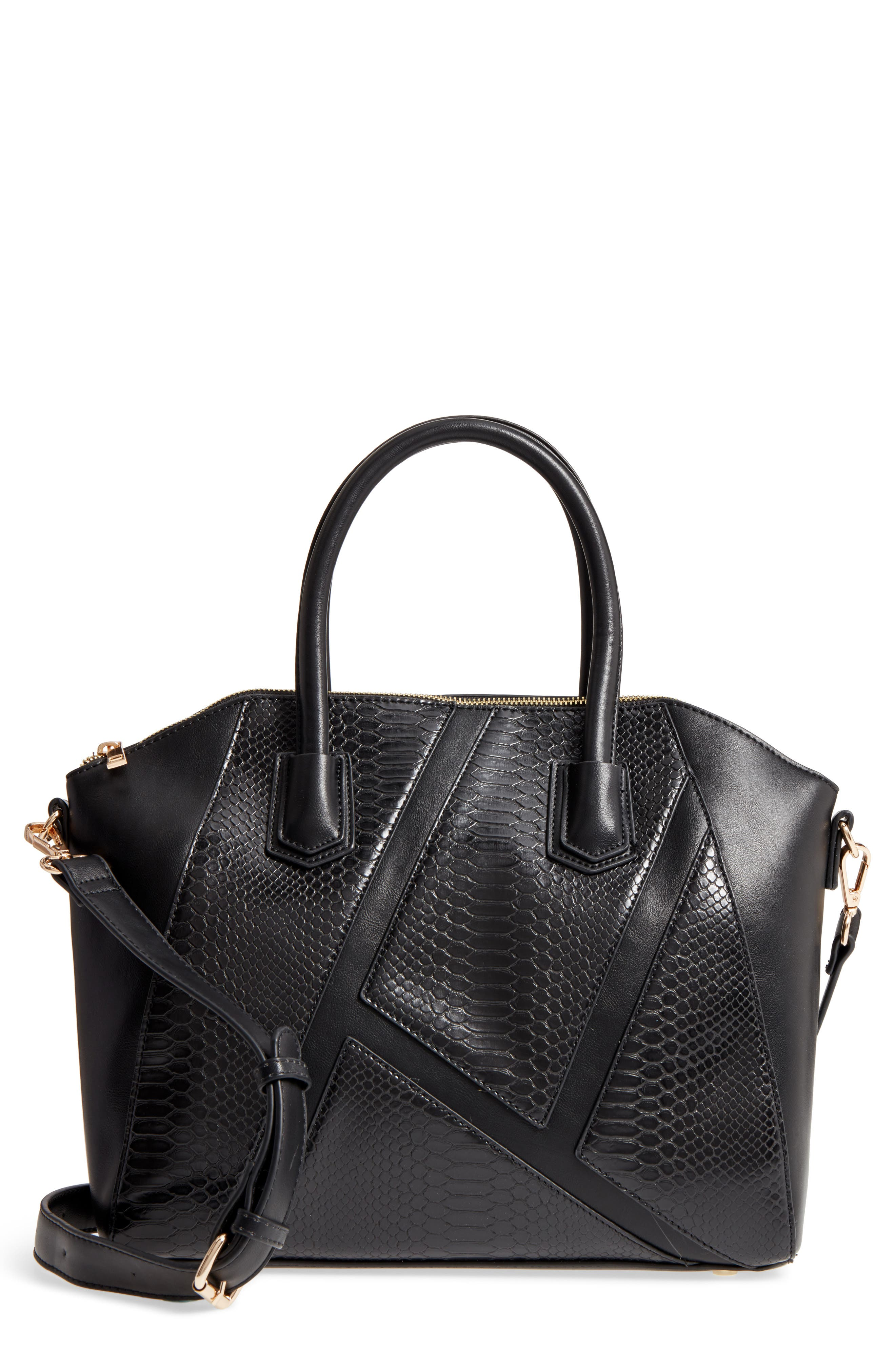 Chase Faux Leather Satchel,                         Main,                         color, Black
