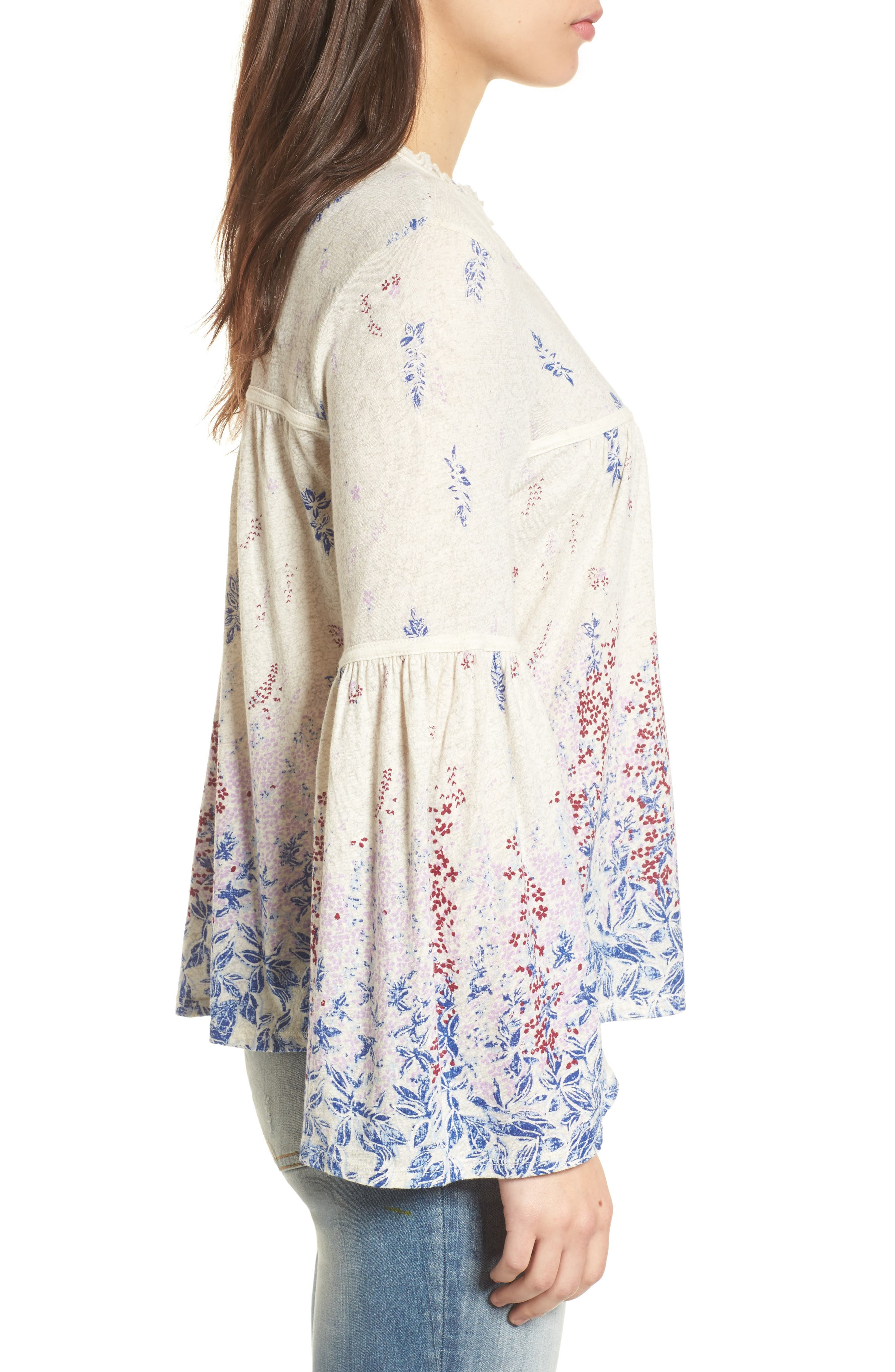 Alternate Image 3  - Lucky Brand Print Knit Peasant Top