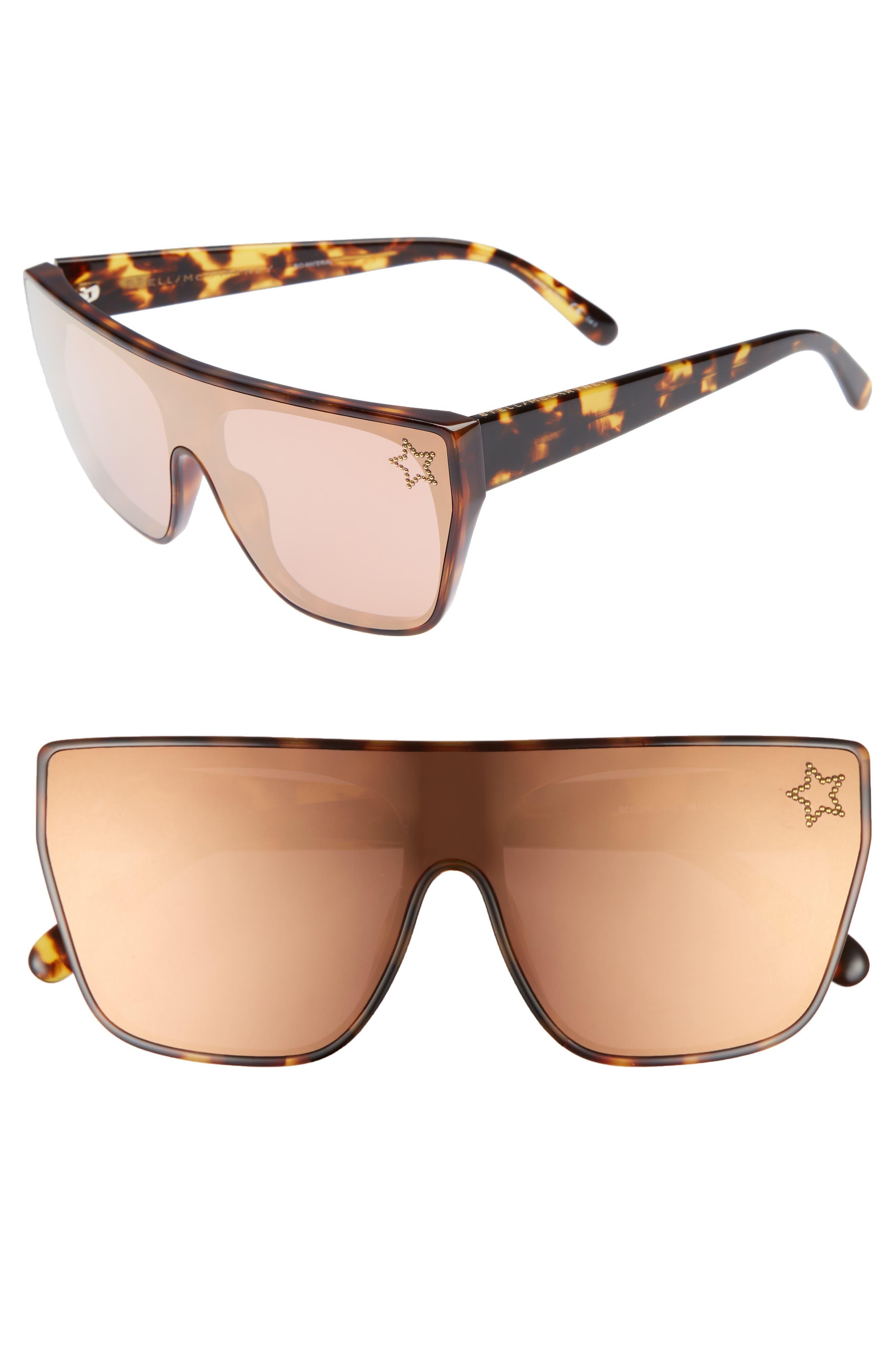 99mm Flat Top Sunglasses,                             Main thumbnail 1, color,                             Blonde Avana