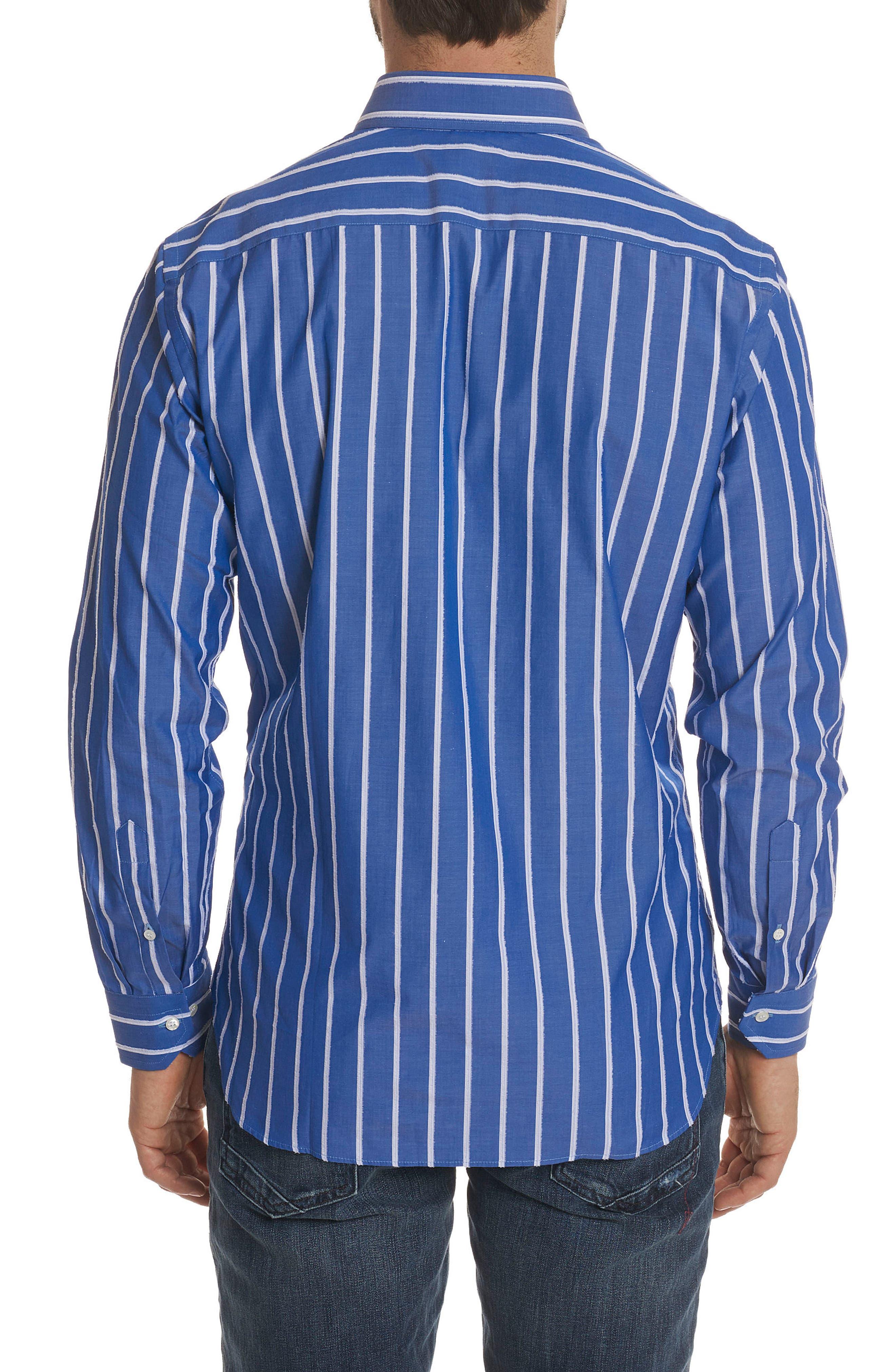 Massimo Regular Fit Stripe Sport Shirt,                             Alternate thumbnail 2, color,                             Blue