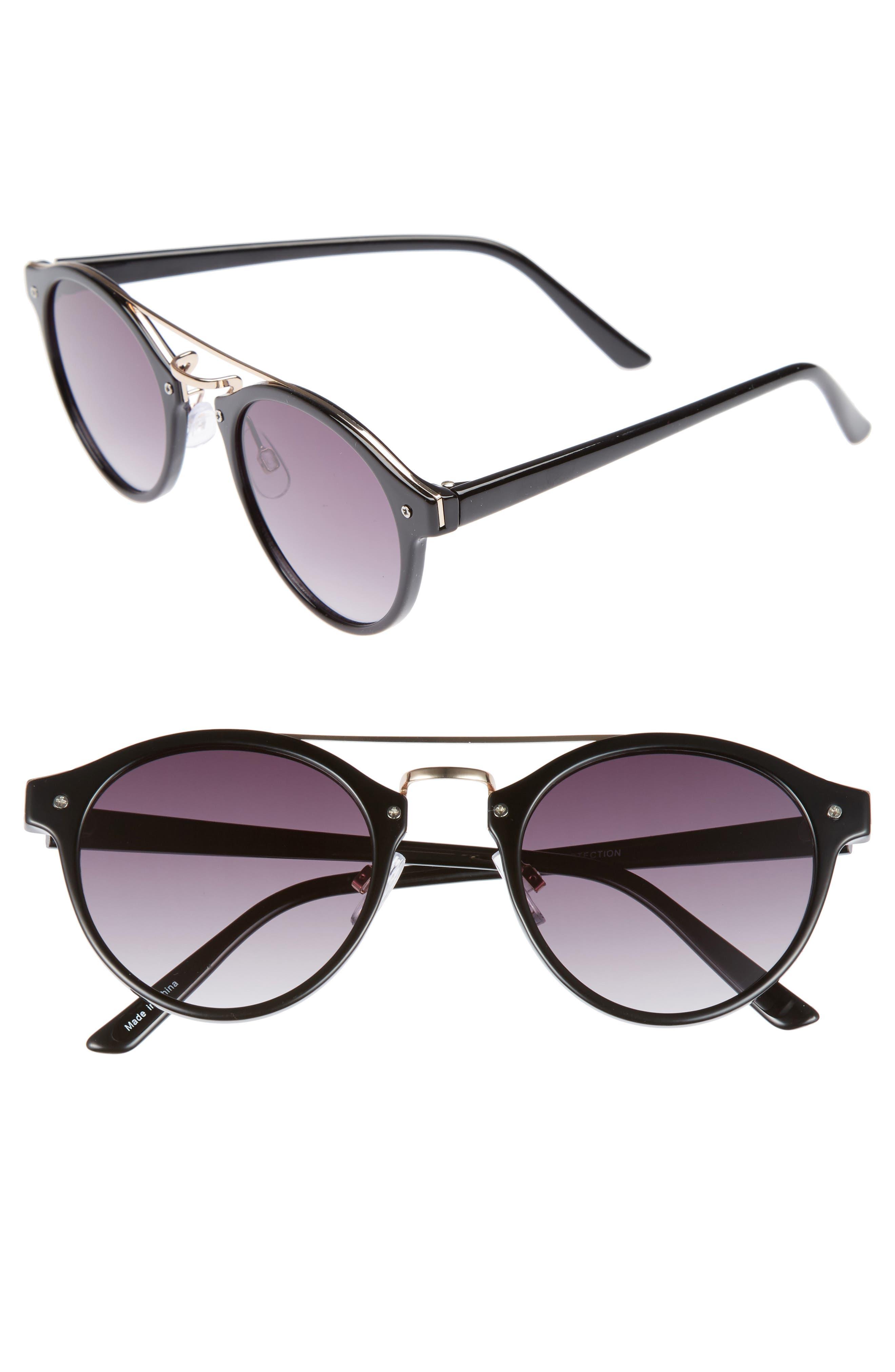 45mm Round Sunglasses,                         Main,                         color, Black/ Gold